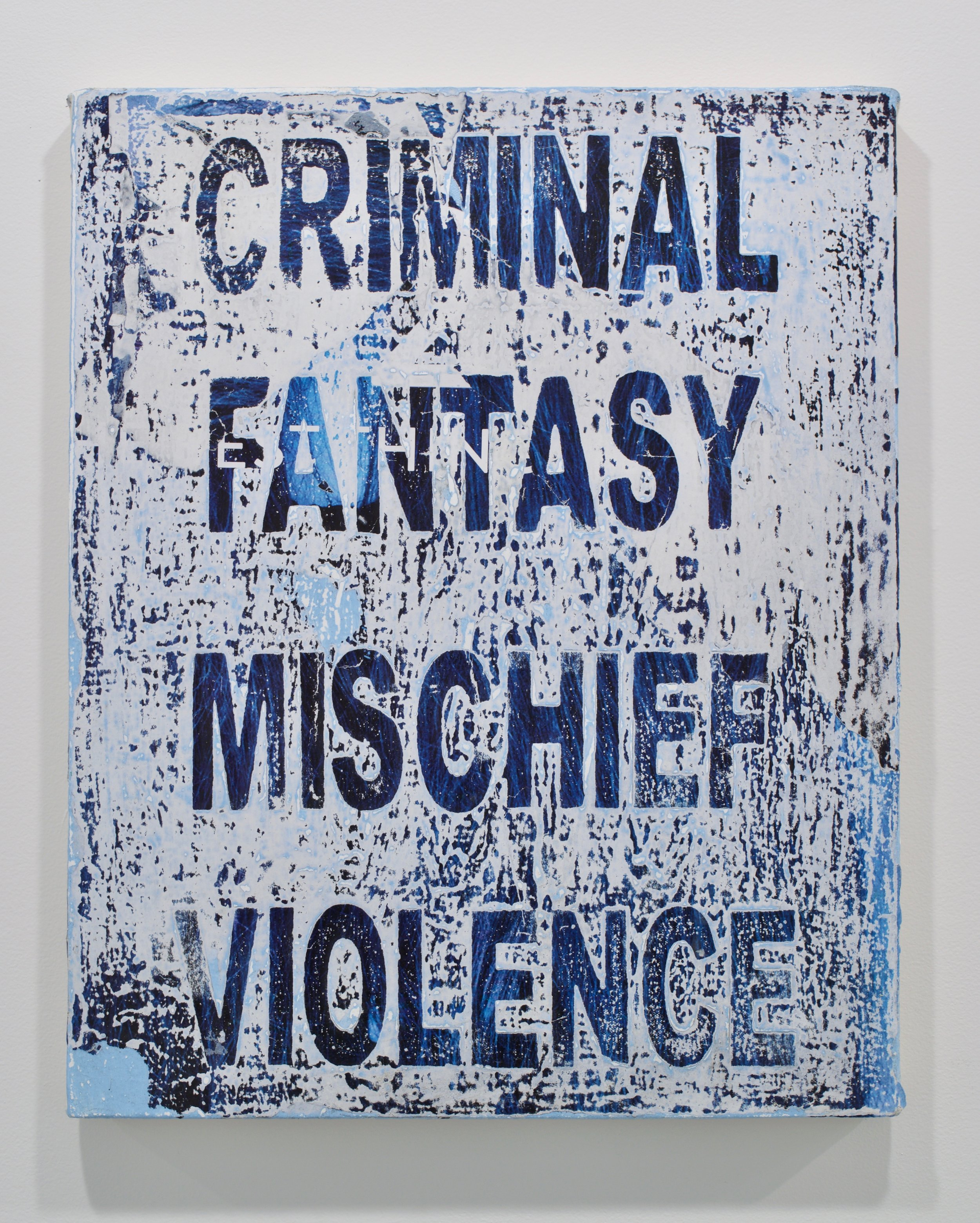 """Andrew Laumann, """"Symptoms (Criminal Mischief, Fantasy Violence)"""", 2017. Methylcellulose, acrylic, paper on canvas mounted to wood panel, 20x16 in."""
