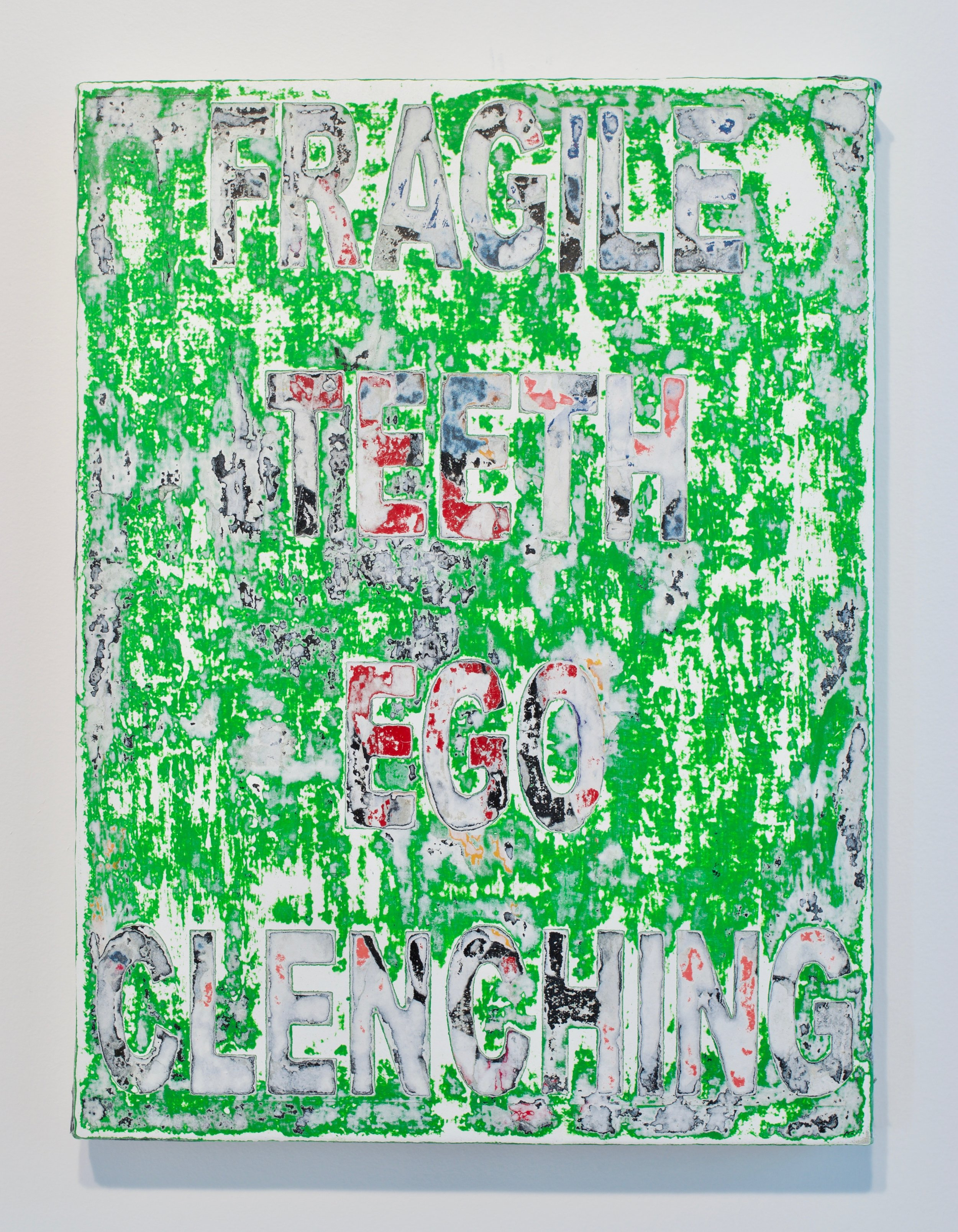 """Andrew Laumann, """"Symptoms (Fragile Ego, Teeth Clenching)"""", 2017. Methylcellulose, acrylic, paper on canvas mounted on wood panel, 16x12 in."""