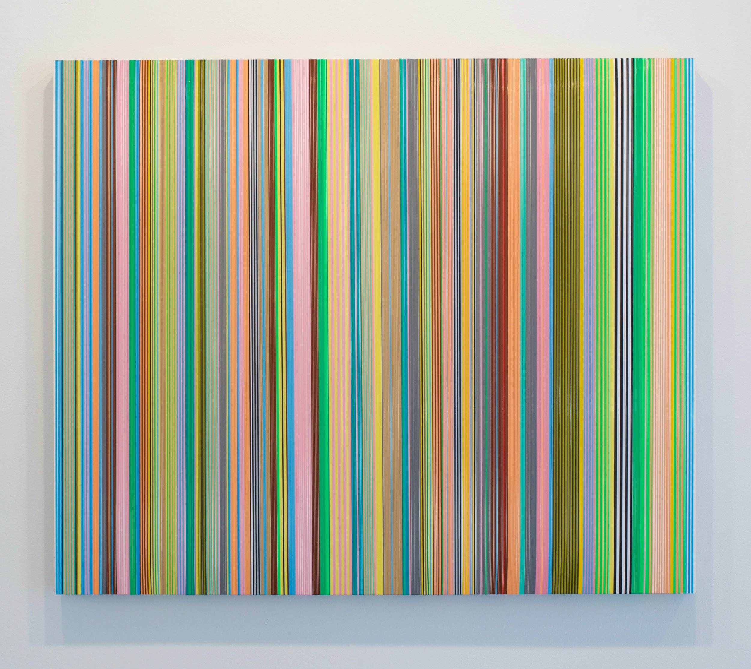 "Daniel Bruttig, ""Sunny Horizon"", 2017. Lenyards on panel, 30 x 36 inches"