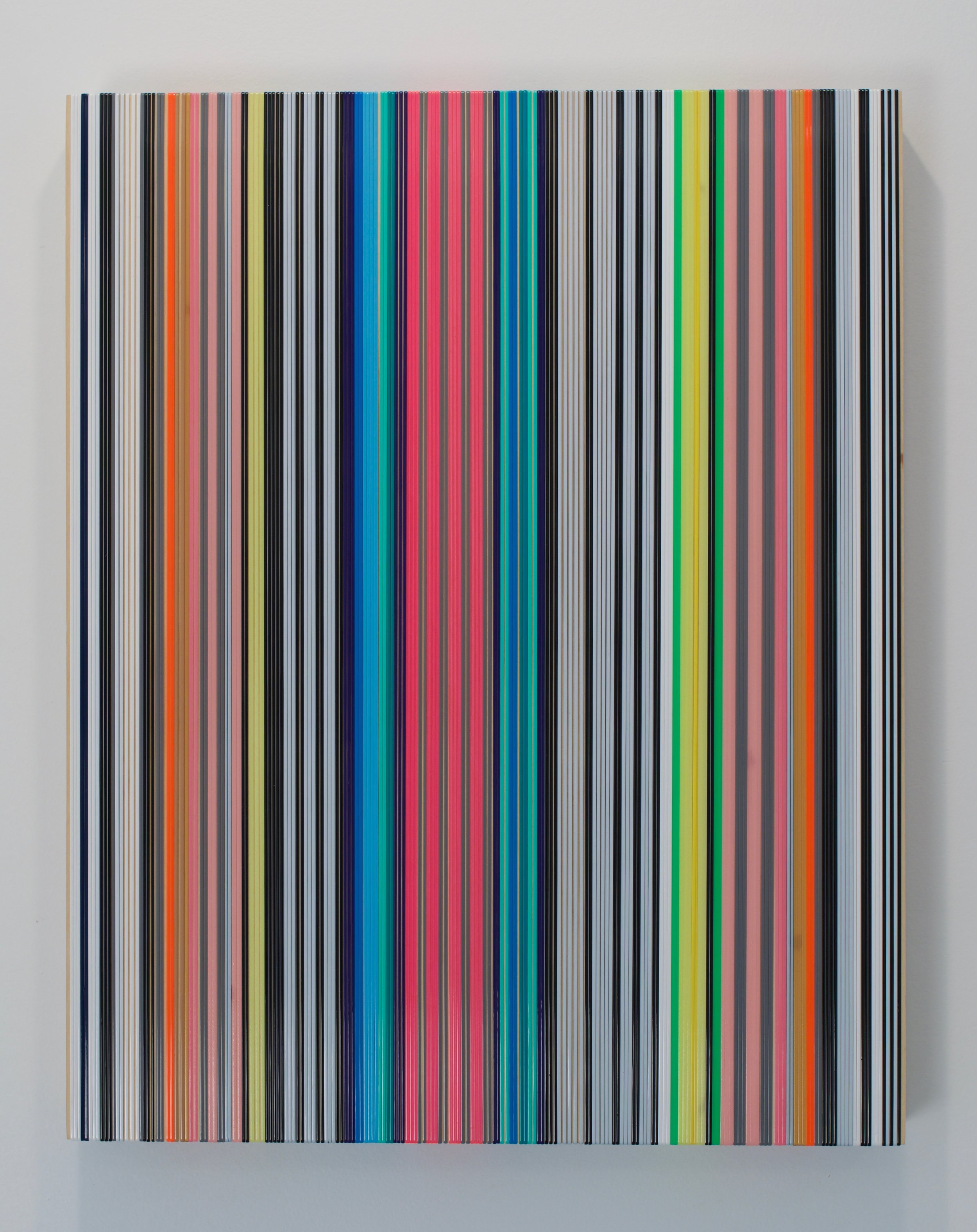 "Daniel Bruttig, ""Las Rayas"", 2017. Lanyards on panel. 24x18 in."