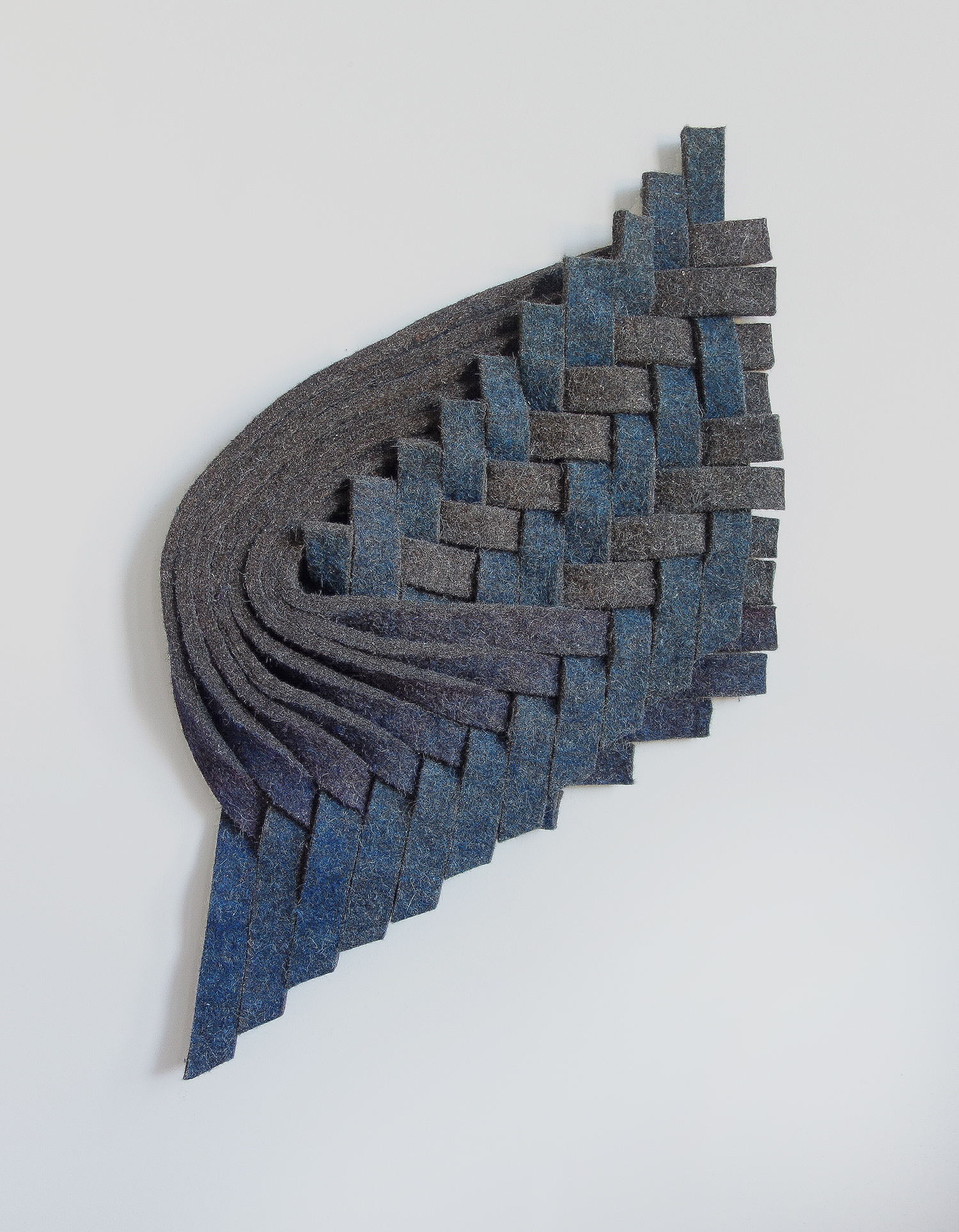 "Laura Kaufman, ""Blue, Violet, Grey"", 2015. Felt, wax. 34x22x3 in."