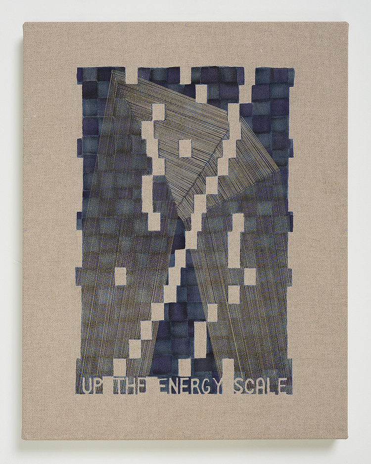"Laura Kaufman, ""Up The Energy Scale"", 2018. Thread, watercolor, transfer pigment, rabbit skin glue, linen. 18x14x1.5 in."