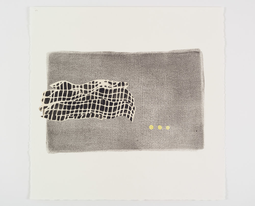 "Laura Kaufman, ""Printed weave #8"", 2017. Collaged monoprint. 24.5x22 in. (framed)"