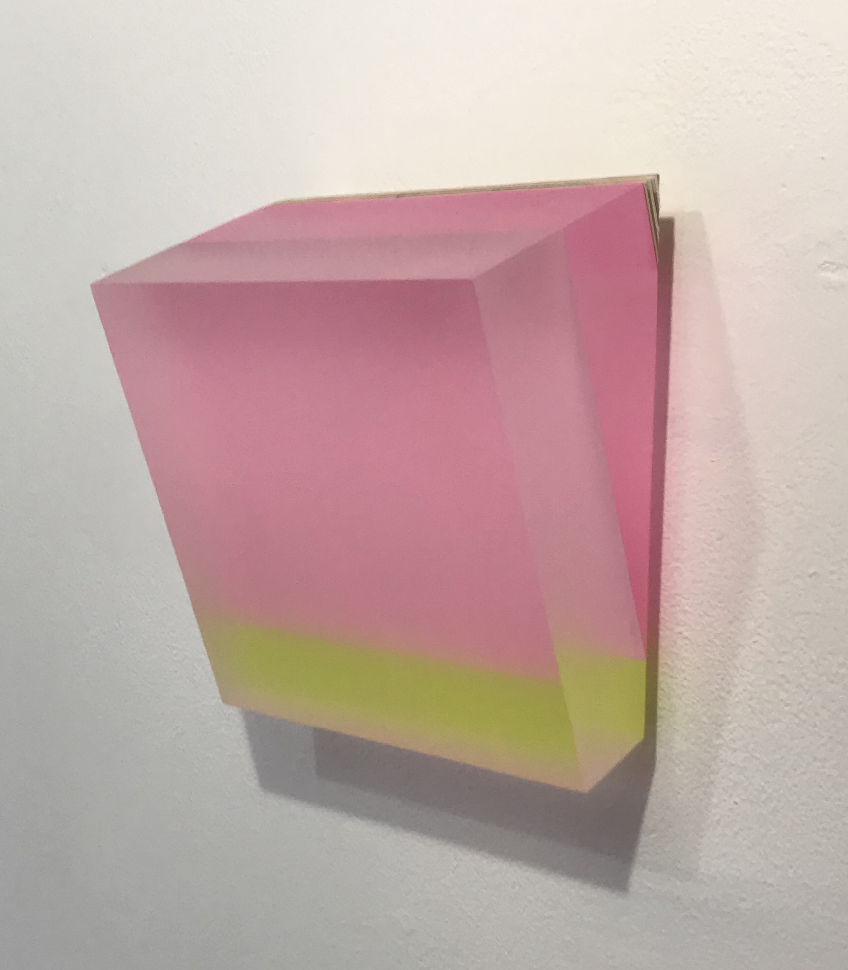 "Michelle Benoit, ""Sky brick series"", 2018. Mixed media on lucite and apple ply. 6.25x7.125 in."