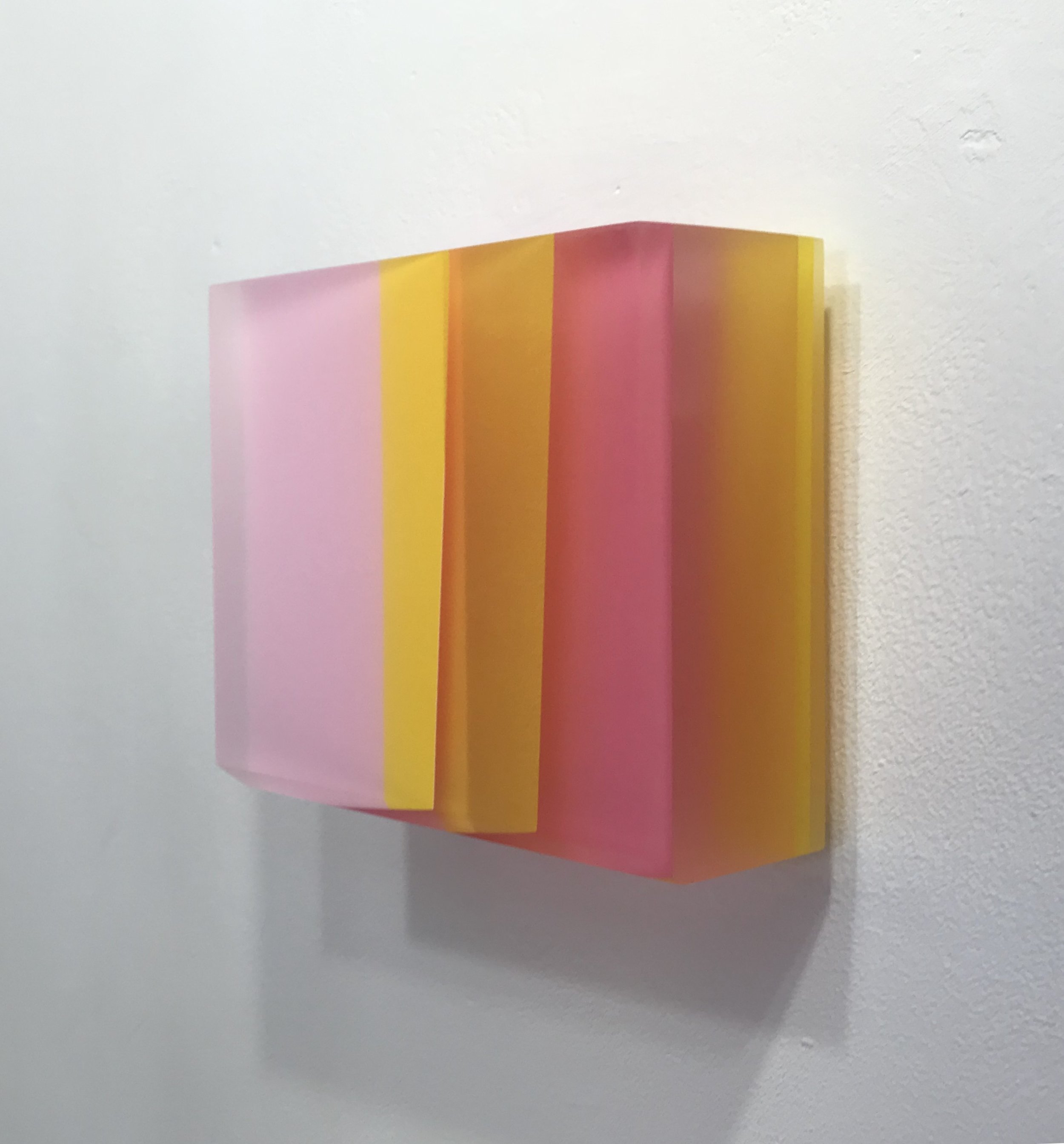 "Michelle Benoit, ""Sky brick series"", 2018. Mixed media on lucite and apple ply. 6.25x6.75 in."