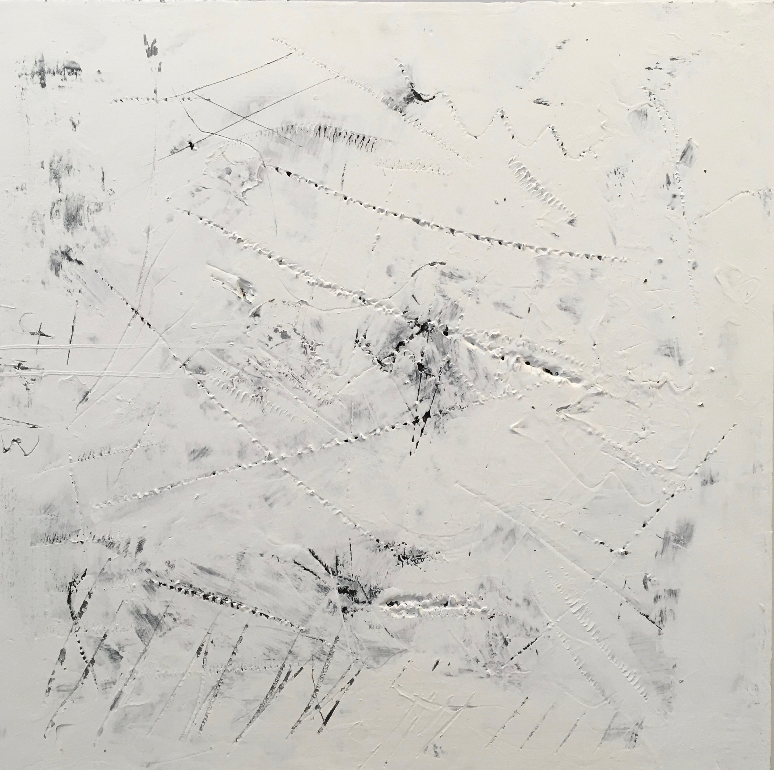 """Scratch Sketch #1"", 2013. Acrylic on insulation board, 24 x 24 in."