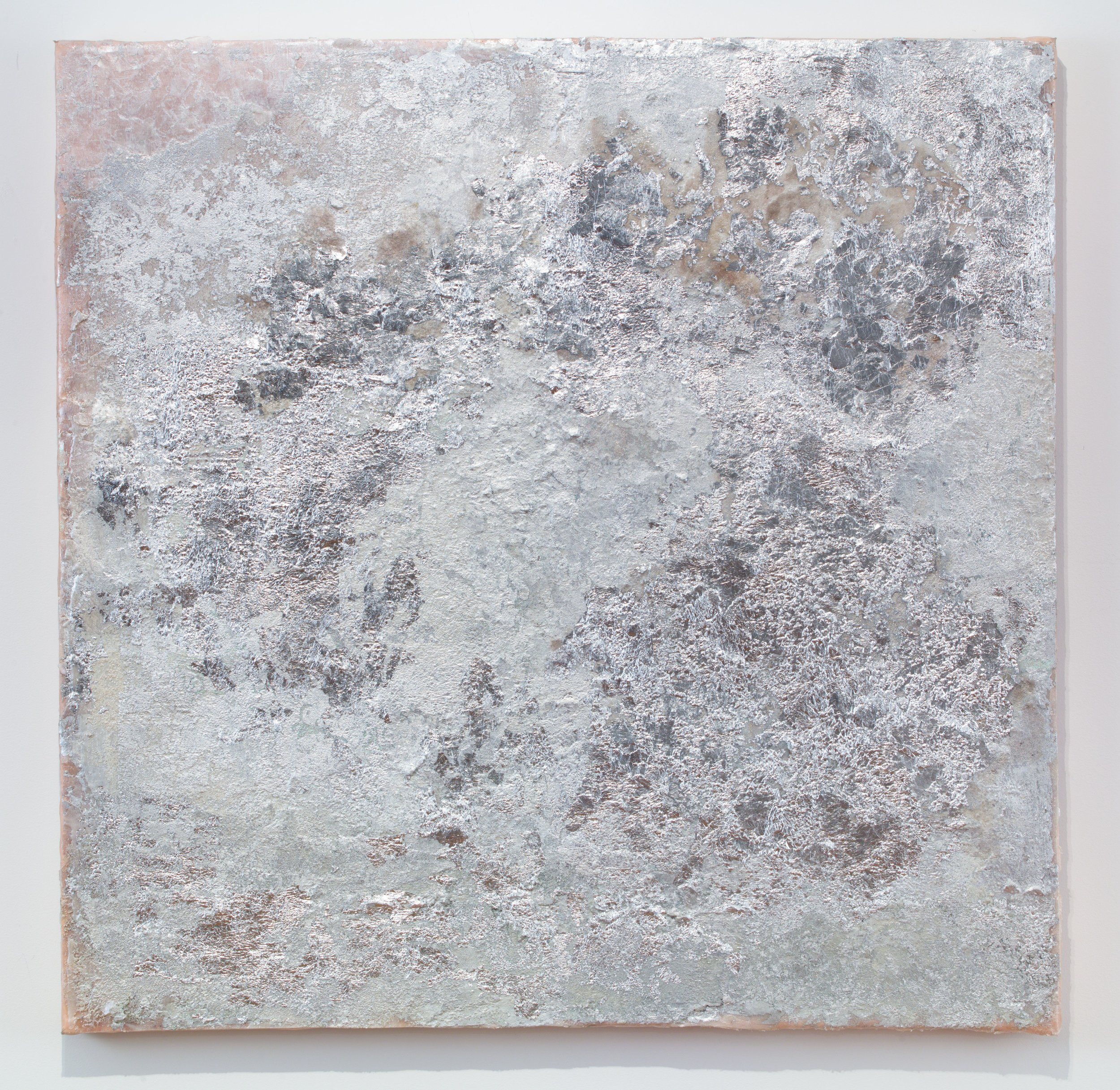 Moon , 2018.Silver Leaf, mica and pigment on silk. 36 x 36 inches
