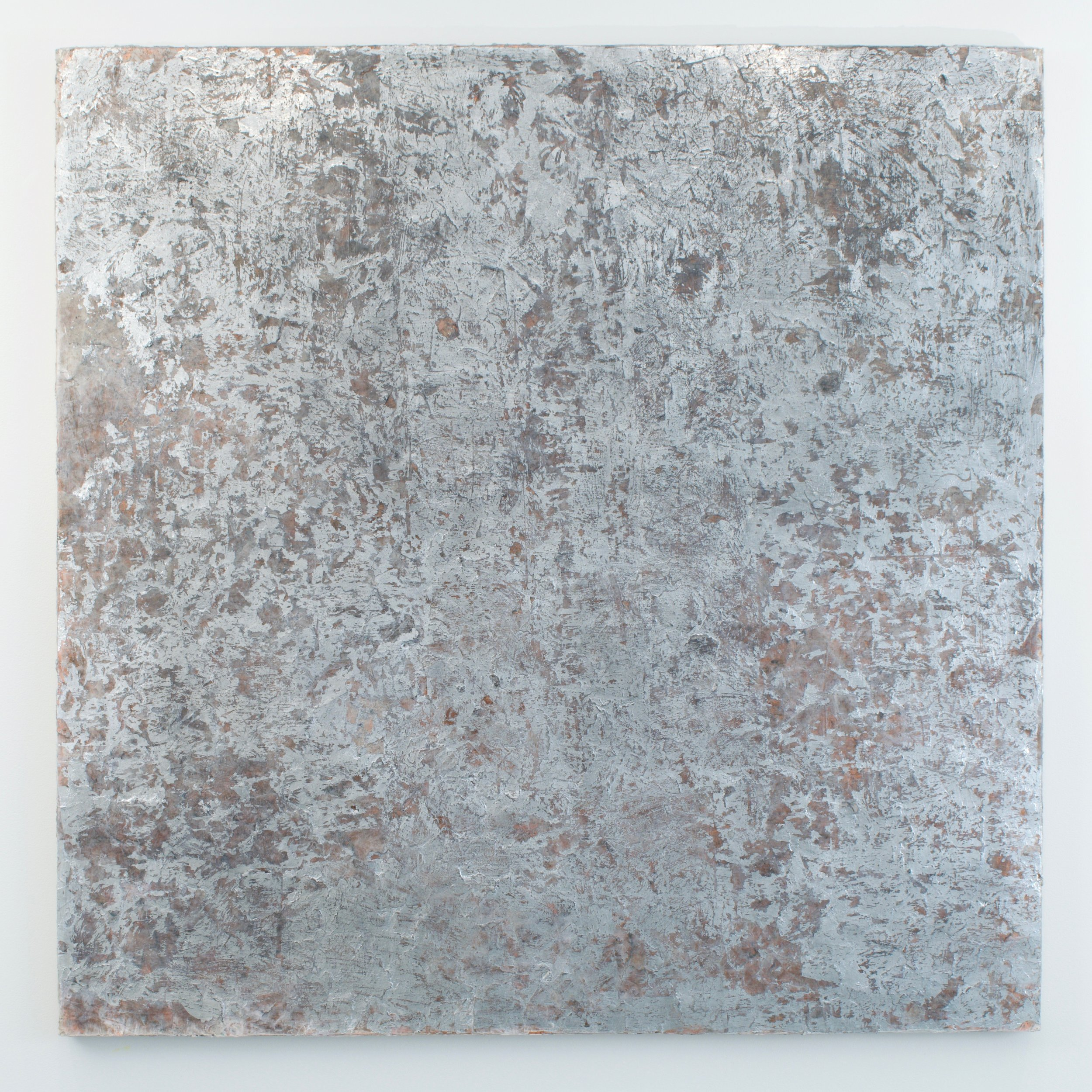 Erosion, 2018. Mica, cooper and silver leaf, sequins, and graphite on canvas. 48x48 in.
