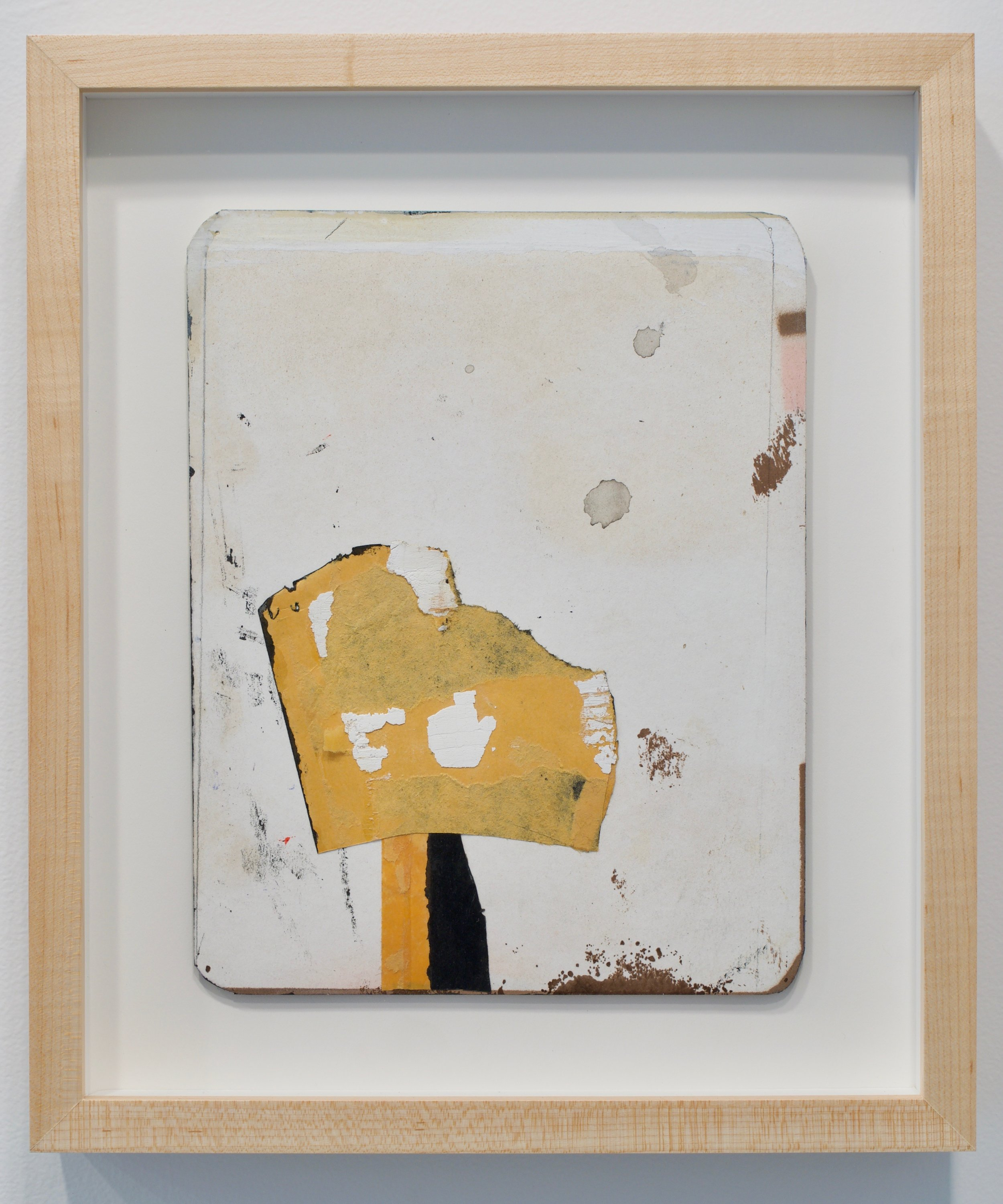 "Jeff Feld, ""Untitled"", 2015. Collage, ink, enamel, graphite on office mail envelope. 13.5x11.5 in (framed)"