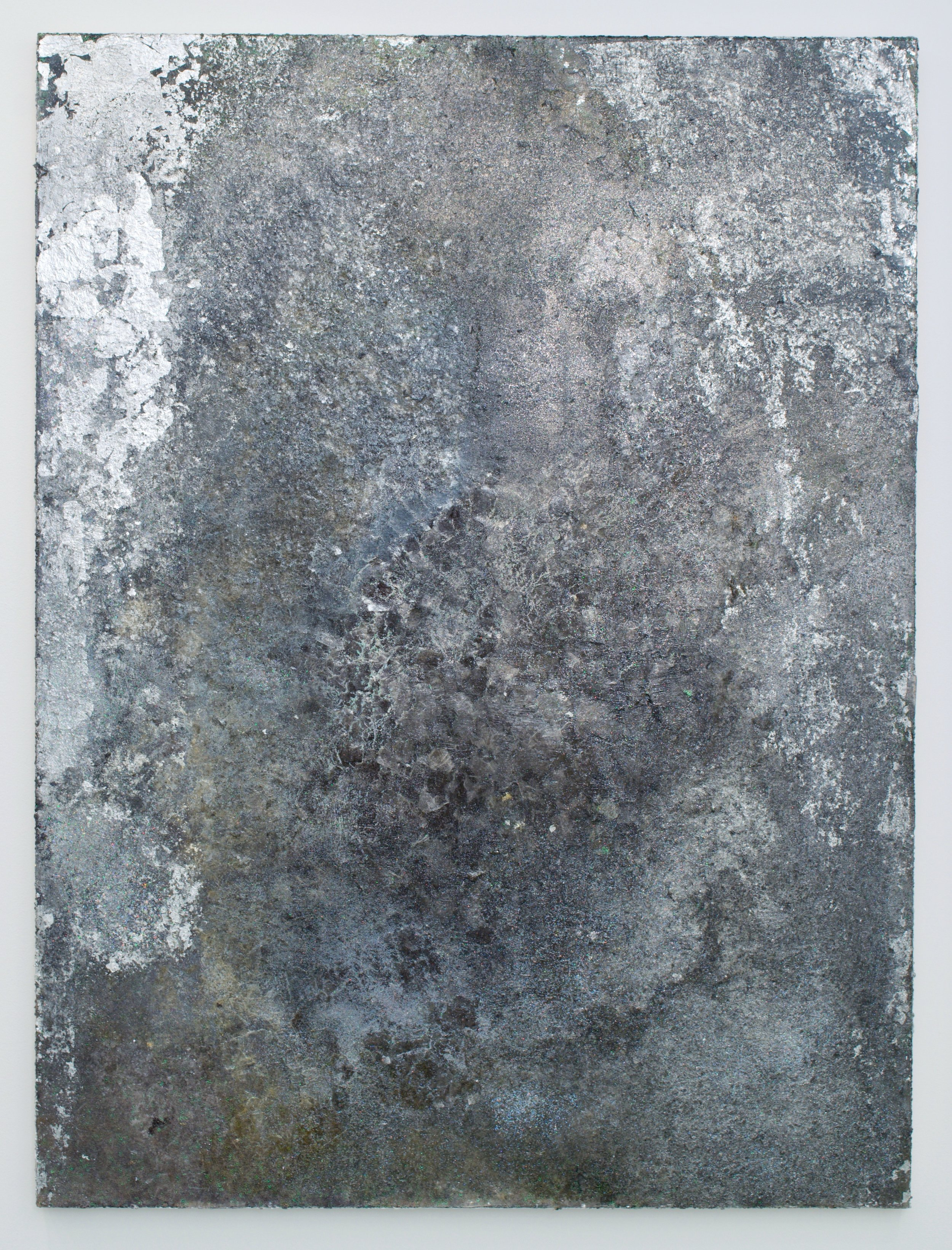 "Rosalind Tallmadge, ""Obsidian"", 2017. Glitter, mica, silver leaf, and pigment on sequins fabric. 48x36 in."