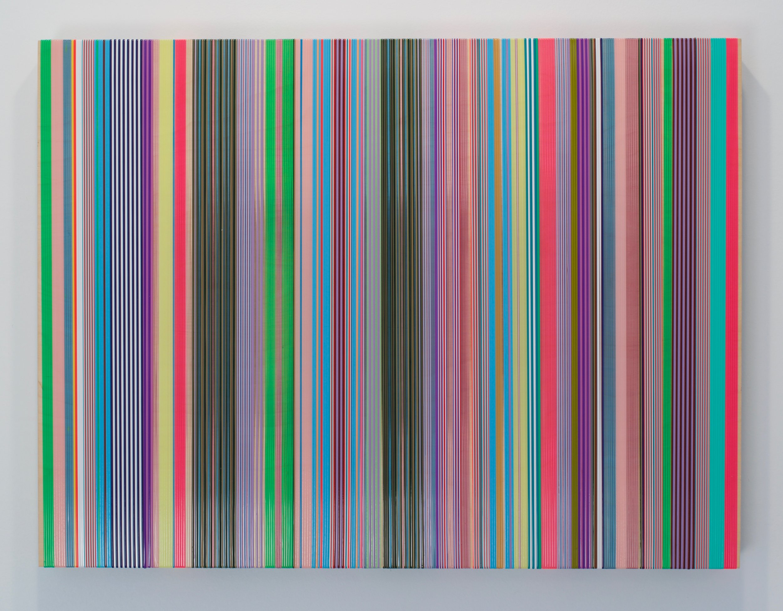 "Daniel Bruttig, ""Polly Changes"", 2015-2017. Lanyards and panel. 24x18 in."