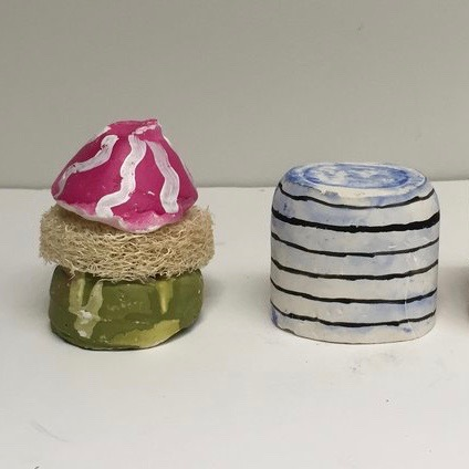 Bio, 2017 Plaster, paper, loofah, and acrylic 2x3 in (each)