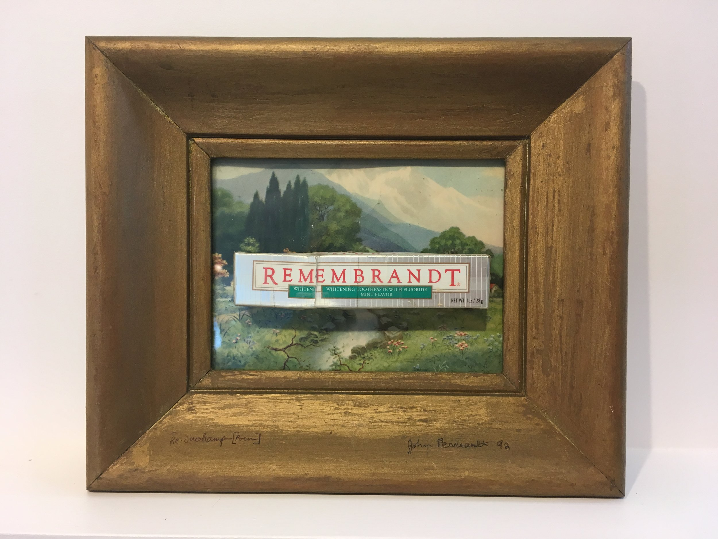 """RE: Duchamp [Poem]"", 1992. Repurposed oil painting, collaged toothpaste box, 10x12 in."
