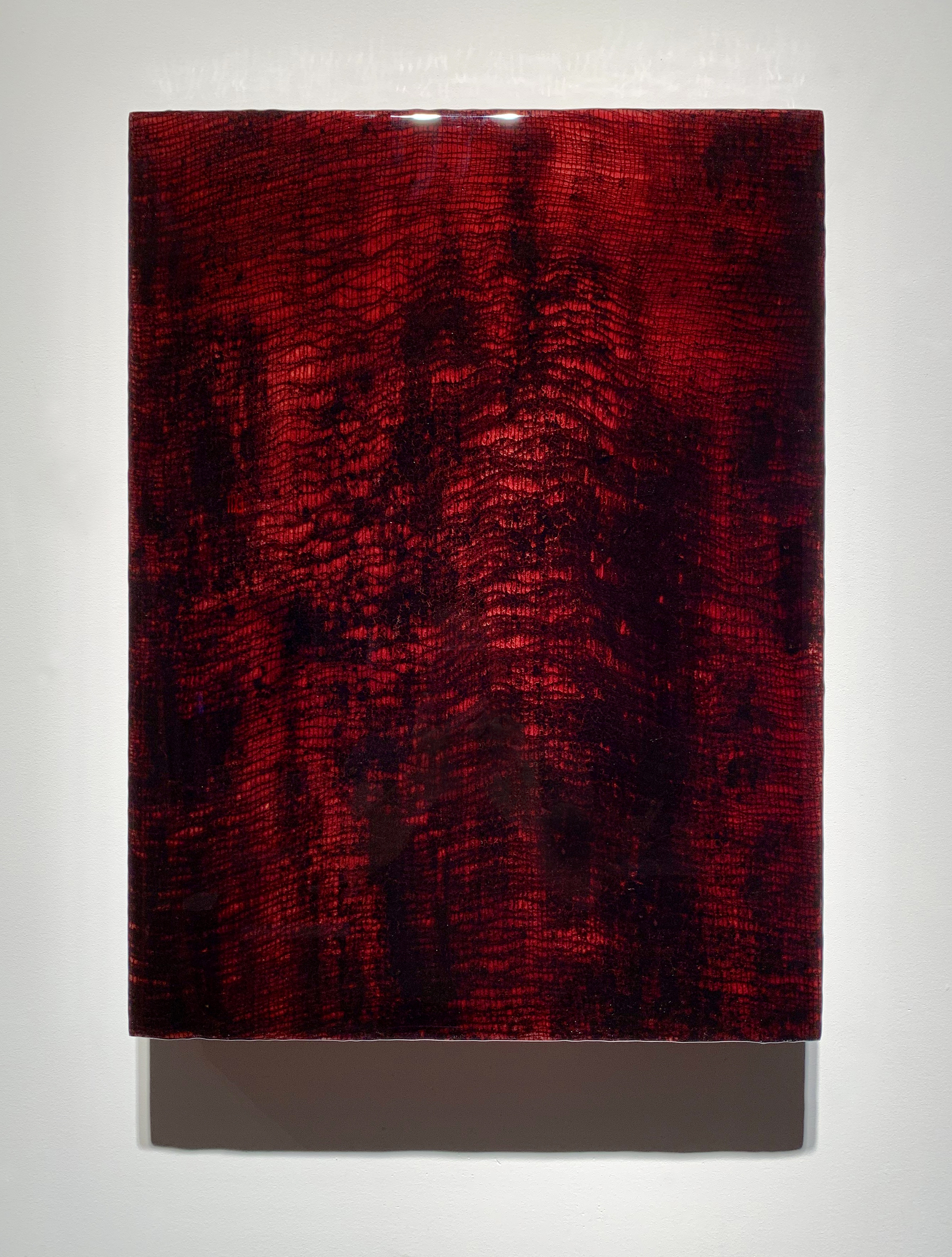 Jordan Eagles, Roze 30, 2018. Blood, gauze, plexiglass, UV resin, 24x18 in