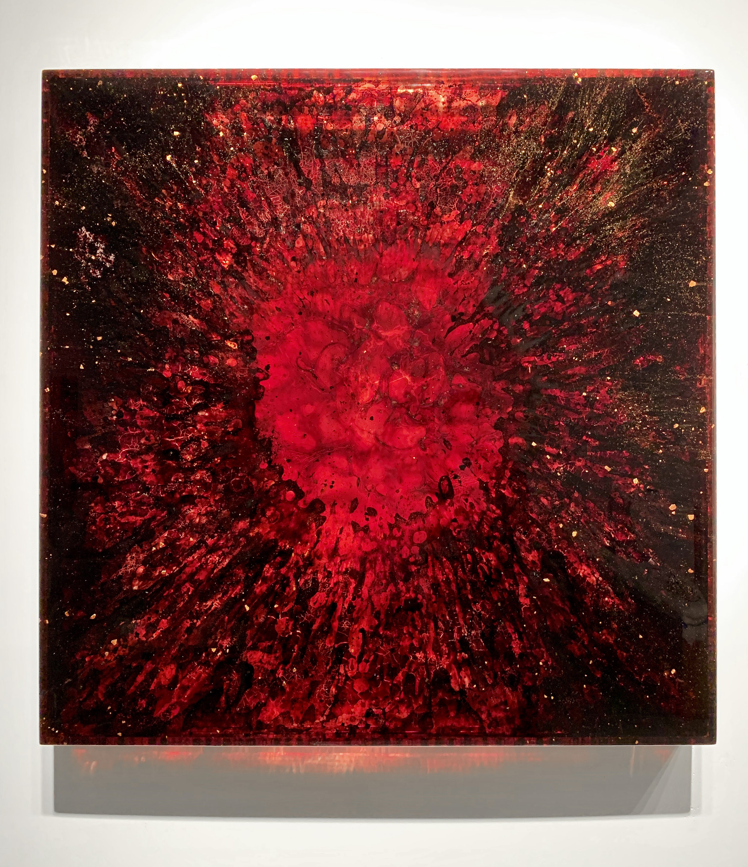 Jordan Eagles, URBC8, 2018. Blood, blood dust, copper, plexiglass, UV resin. 36x36x3 in