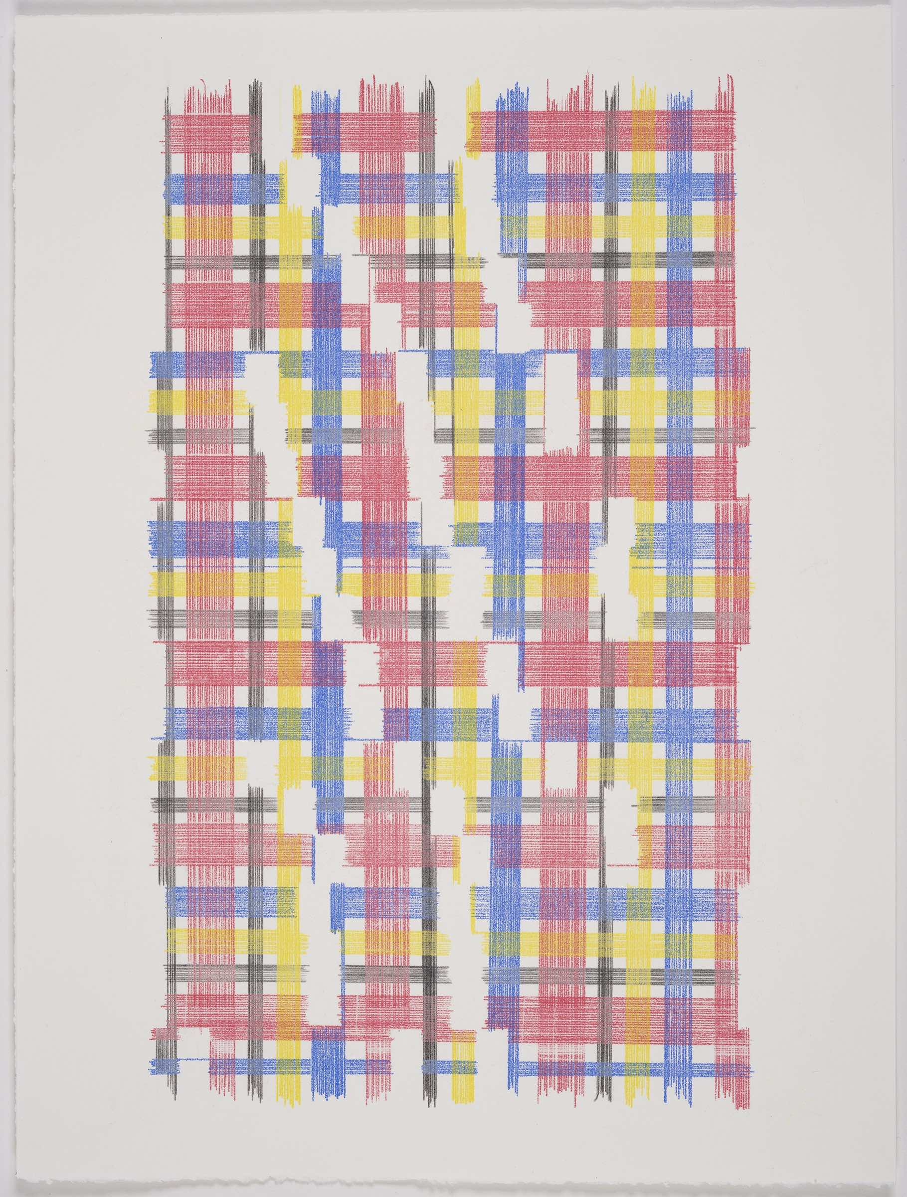 A Moment Of Confusion (Plaid), 2018 Transfer Pigment on Paper 23x17.5 in (framed)