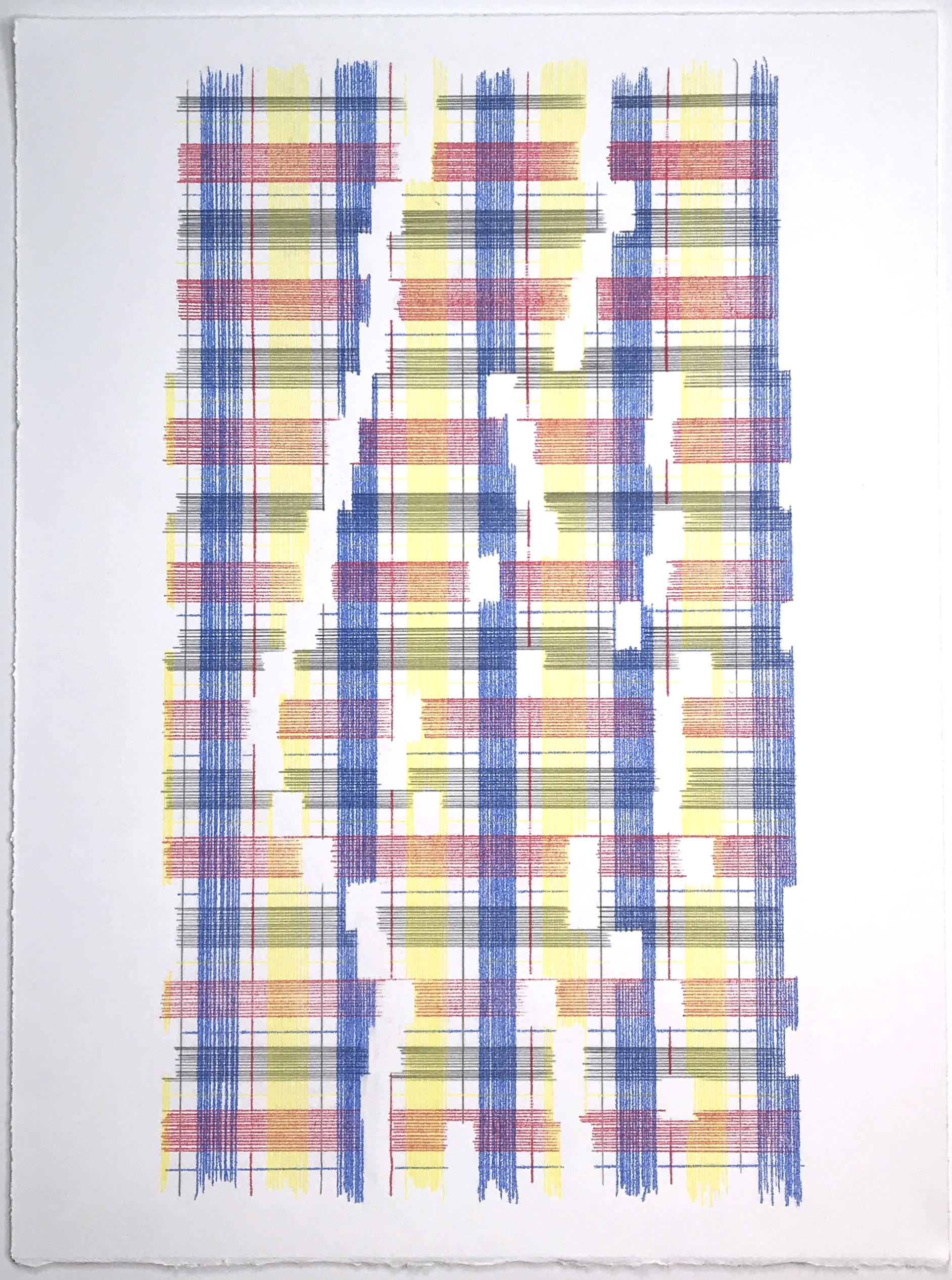 Measure Of The Universe (Plaid), 2018 Transfer pigment on paper 23x17.5 in (framed)