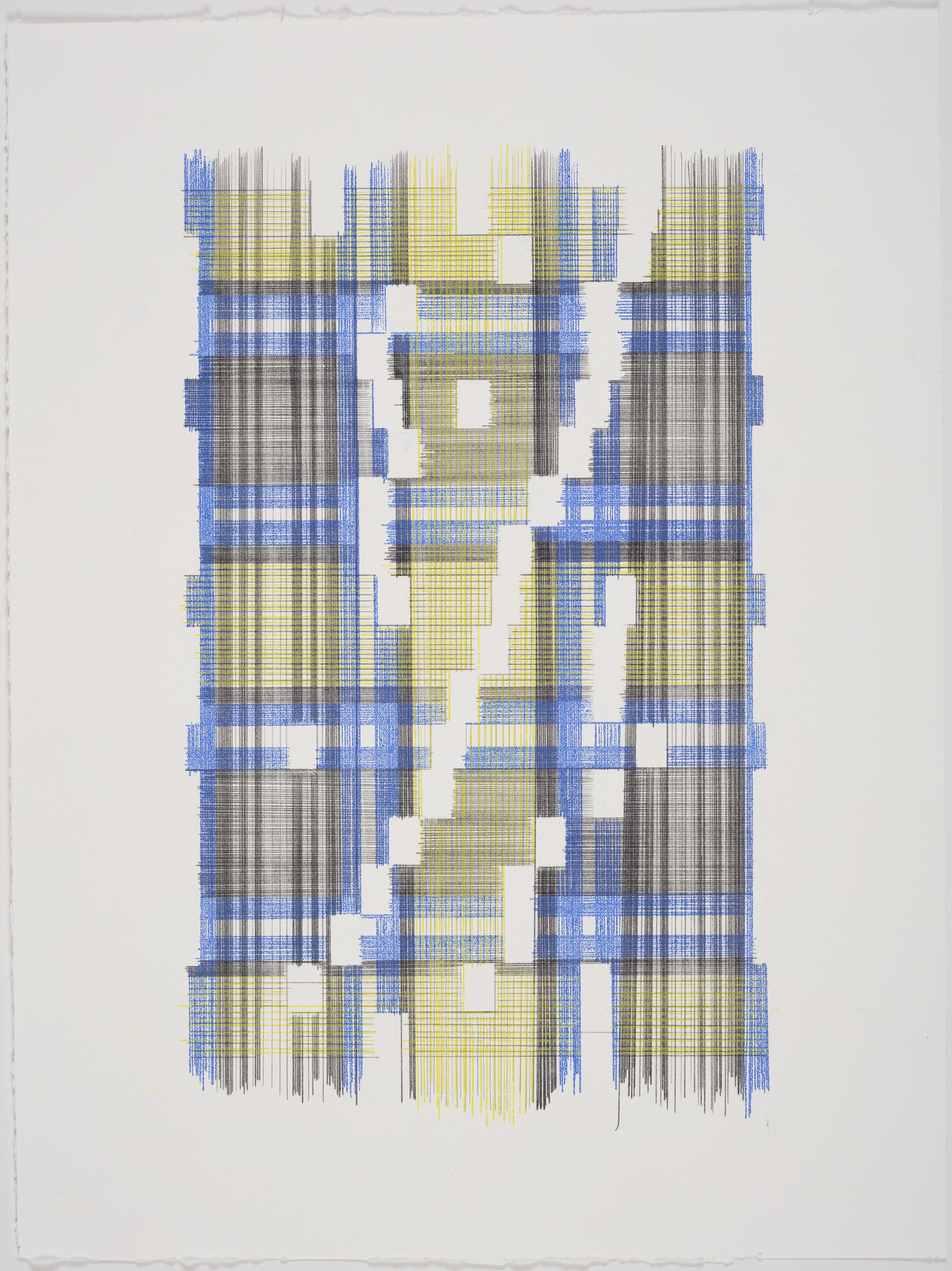 Up Energy Scale Two (Plaid), 2018 Transfer pigment on paper 23x17.5 in (framed)