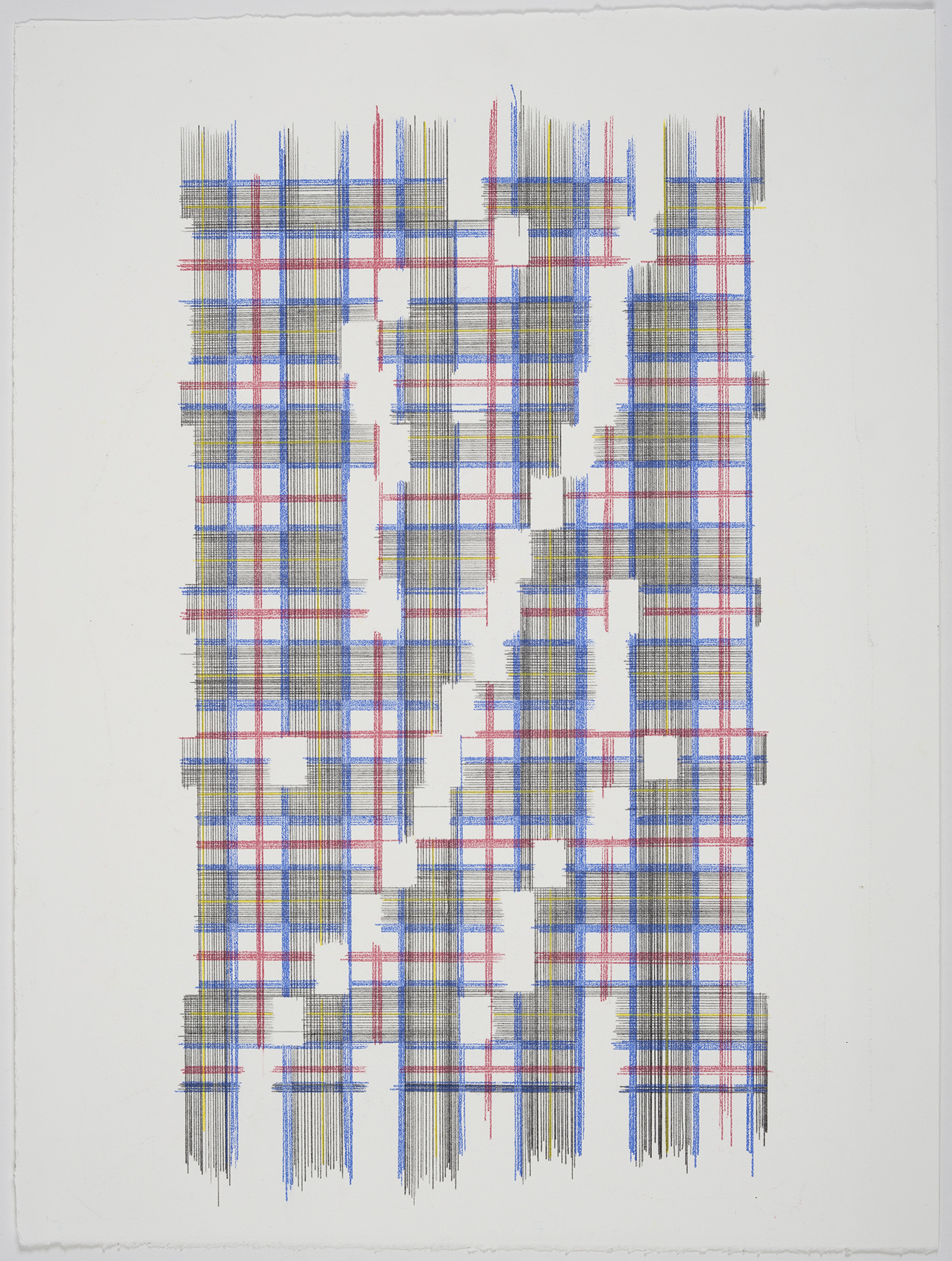 Up The Energy Scale (Plaid), 2018 Transfer pigment on paper 23x17.5 in (framed)