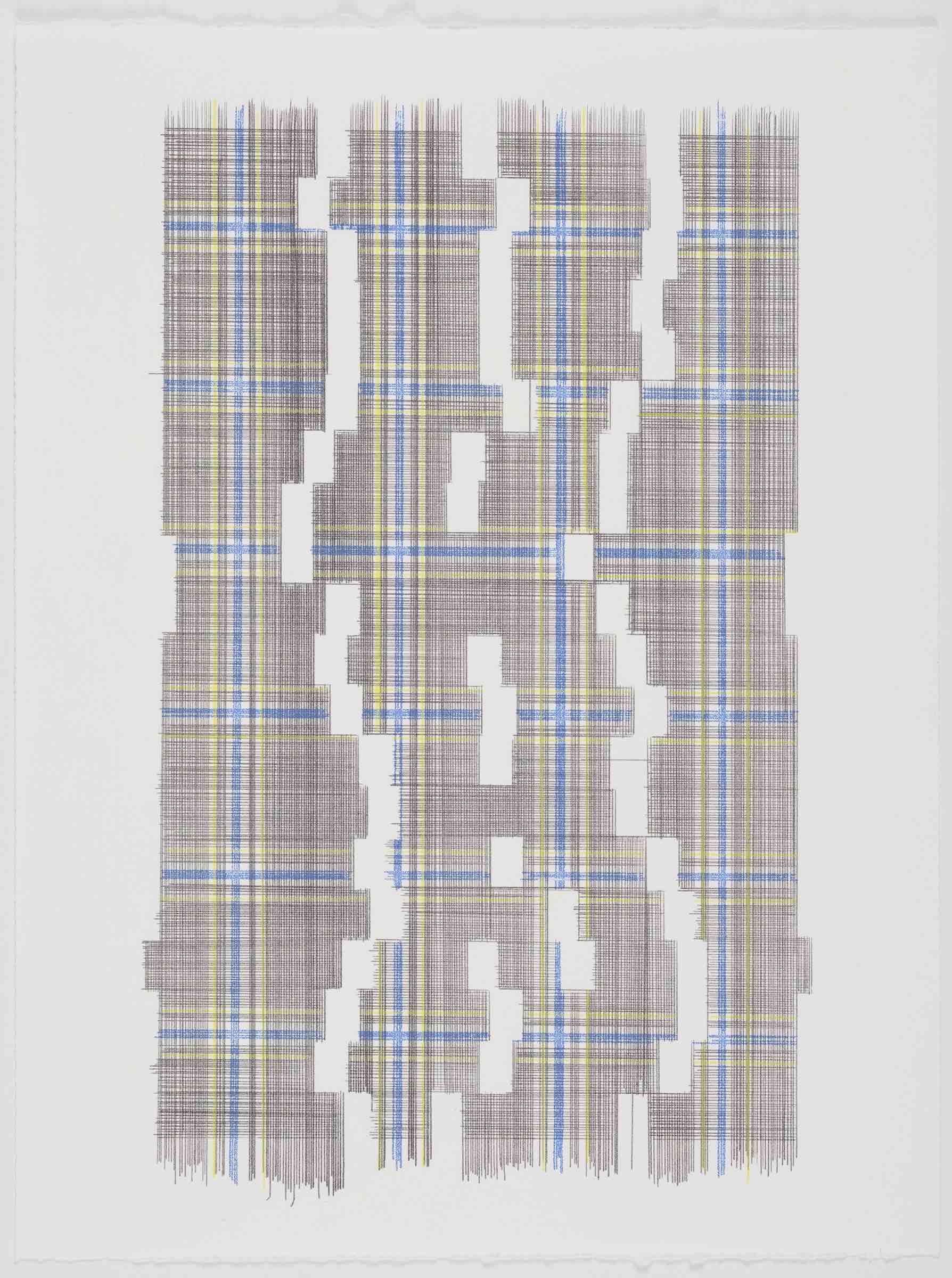 Weight Of Empty Space (Plaid), 2018 Transfer Pigment on Paper 23x17.5  in (framed)