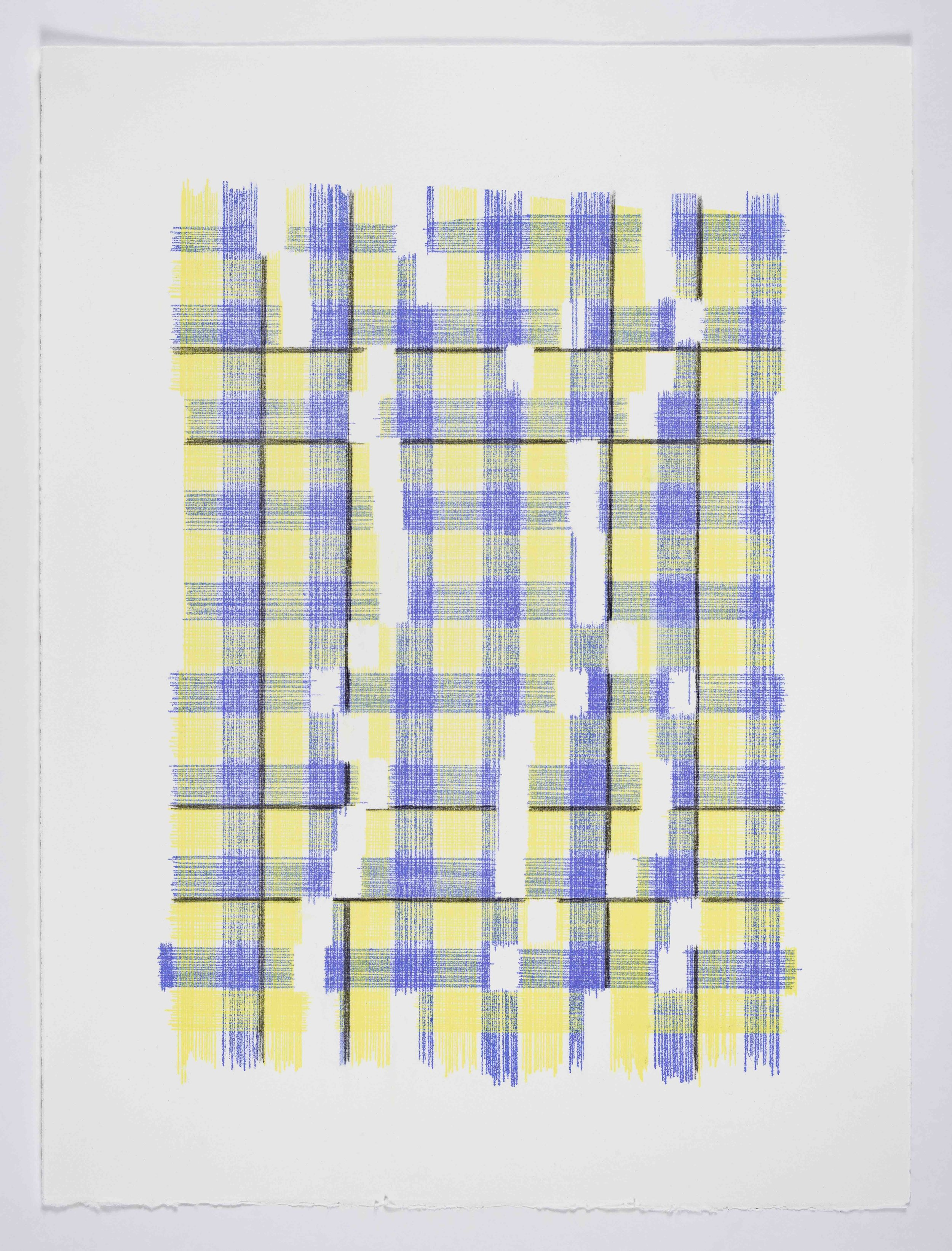 Forms of Normal Matter  (Plaid), 2019 Transfer pigment on paper 23x17.5 in (framed)