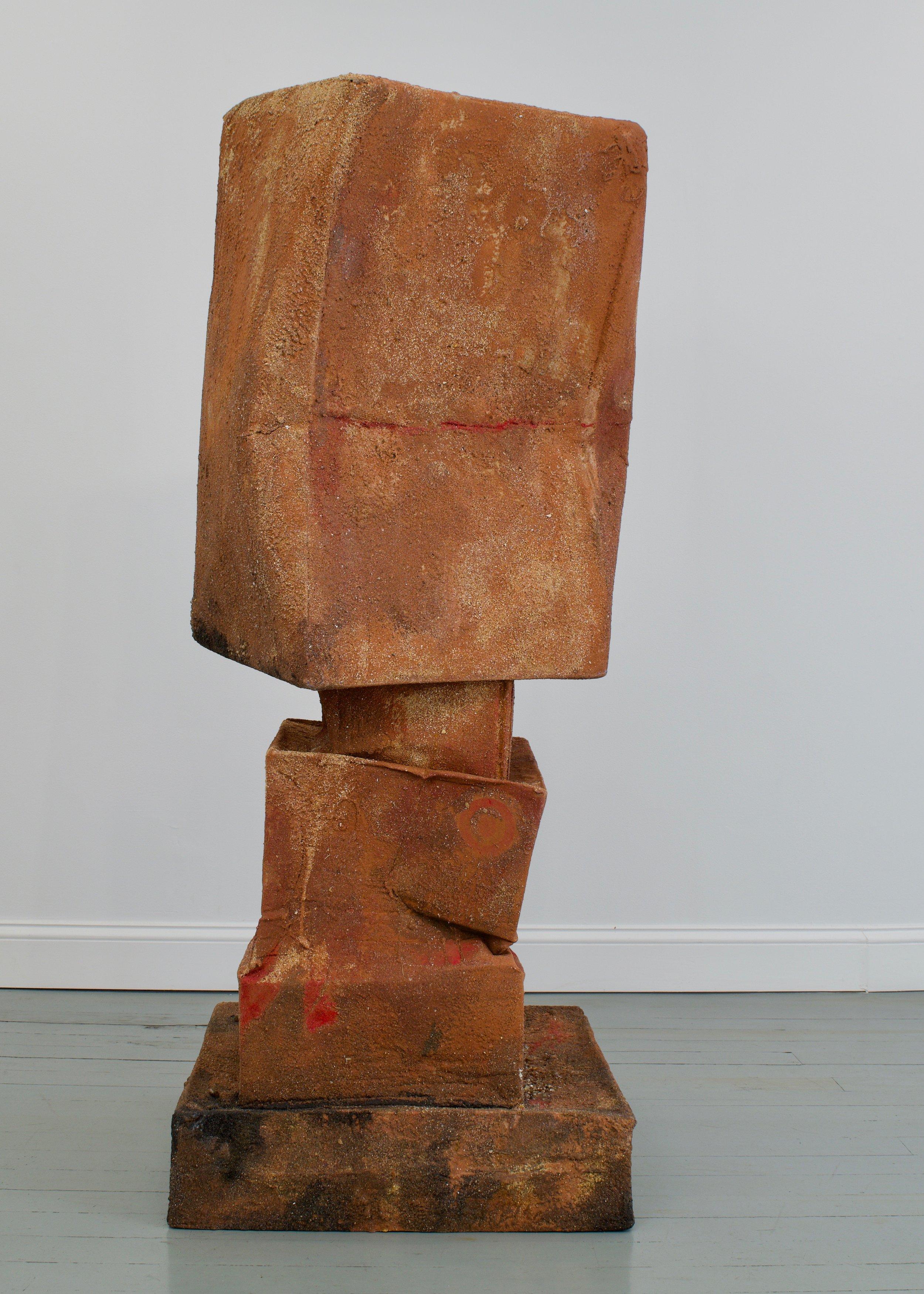 Mark Van Wagner, Drifter, 2019. Cardboard, sand, polymer glues. 69 x 23 x 23 in