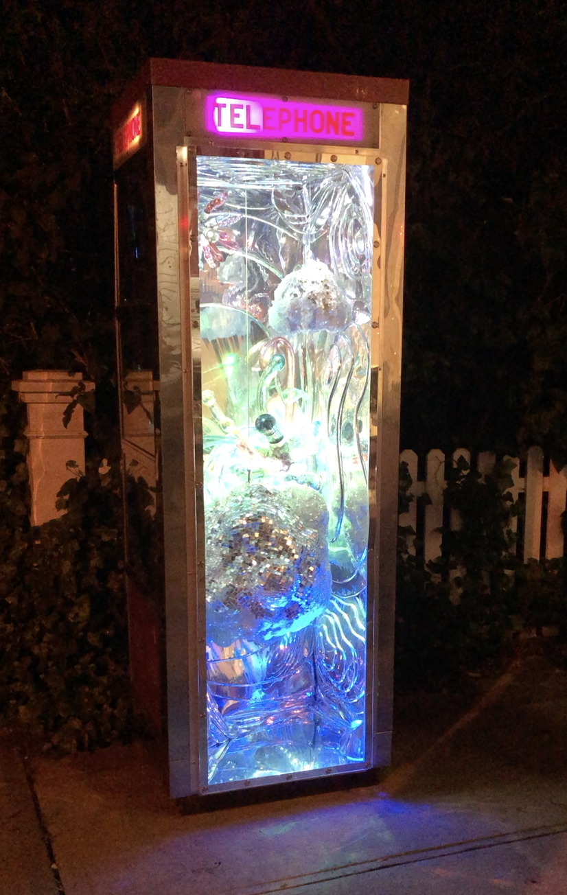 Randy Polumbo, Telephone Booth, 2019. Mixed media,  89 x 31 x 31 in