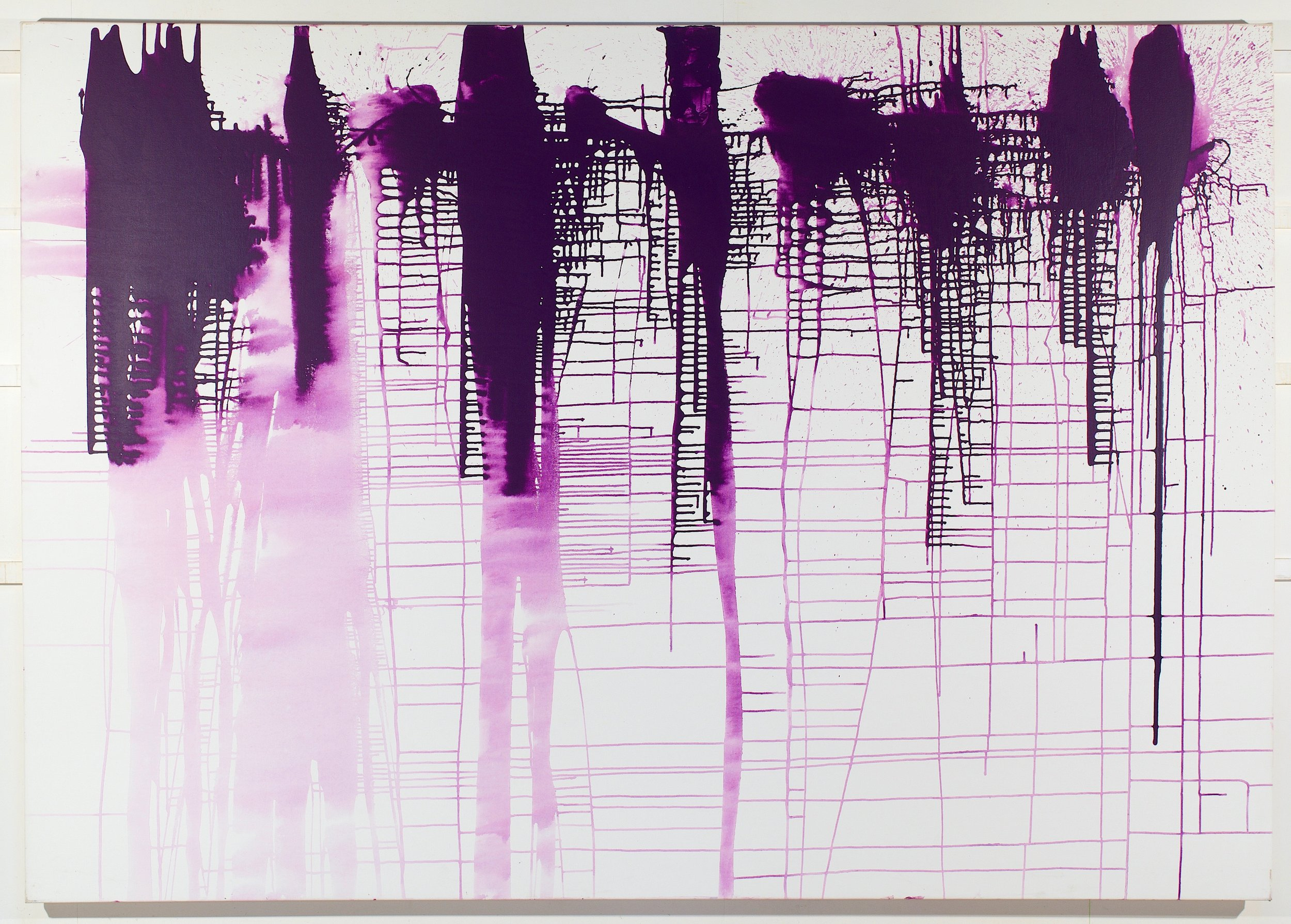 John Perreault. Grape Map, 2013 Acrylic on canvas,  64 x 90 inches
