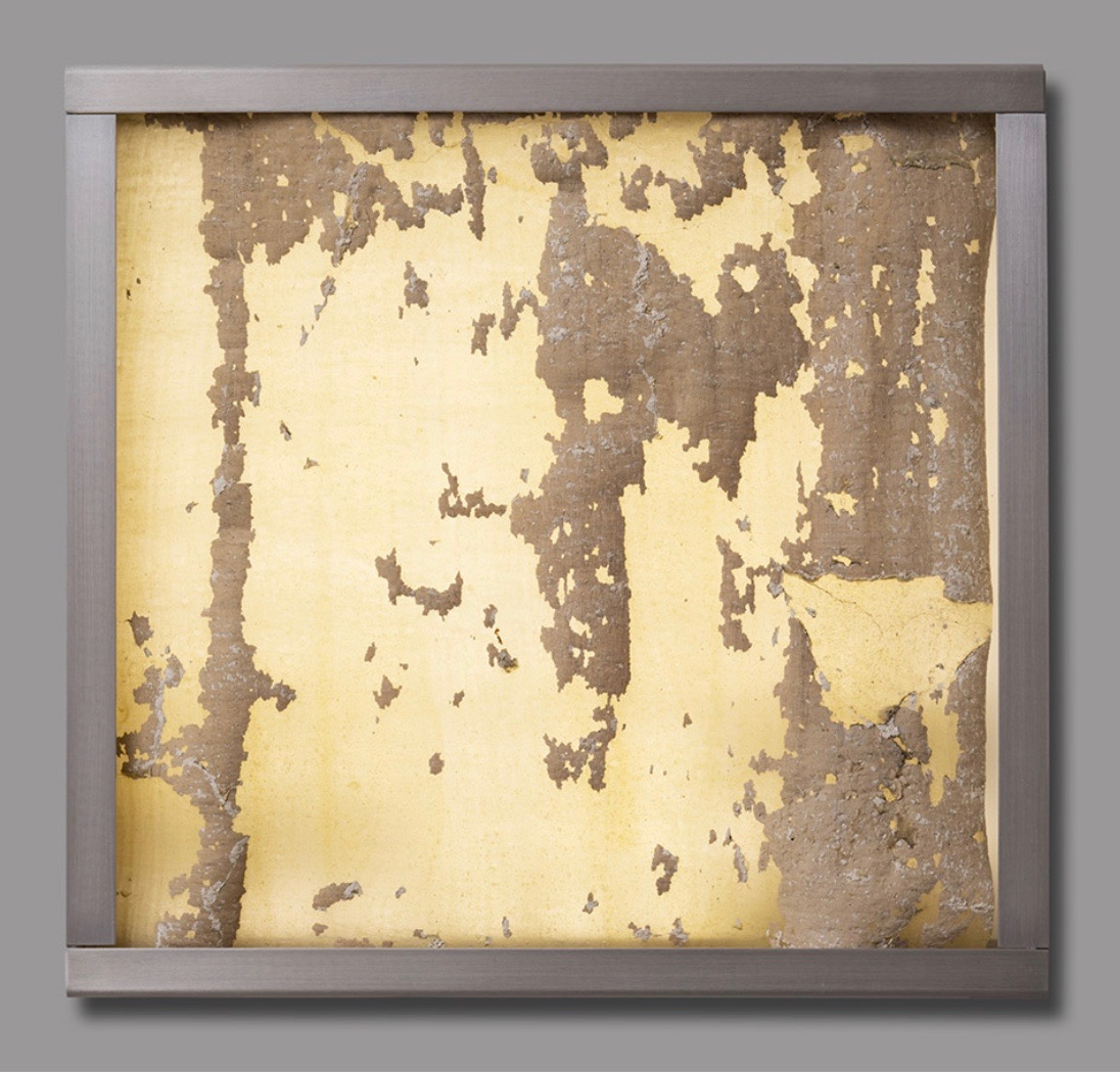 Jorge Otero-Pailos, Distributed Monument 1, 2008. Dust transferred onto a latex cast and mounted on Aluminum Light Box. From The Ethics of Dust Series: Alumix, 10 x 10 x 2 inches