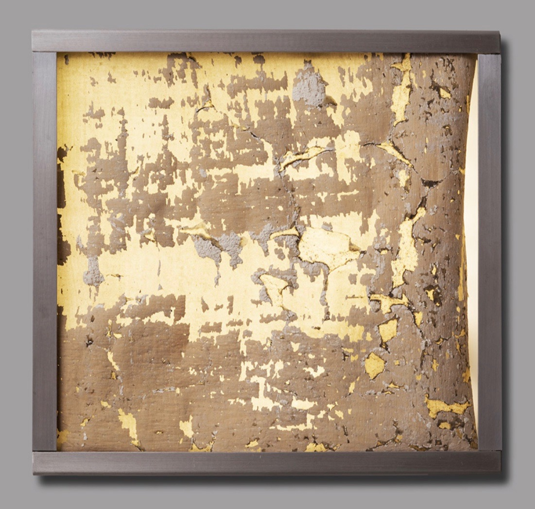 Jorge Otero-Pailos, Distributed Monument 4, 2008. Dust transferred onto a latex cast and mounted on Aluminum Light Box. From The Ethics of Dust Series: Alumix, 10 x 10 x 2 inches