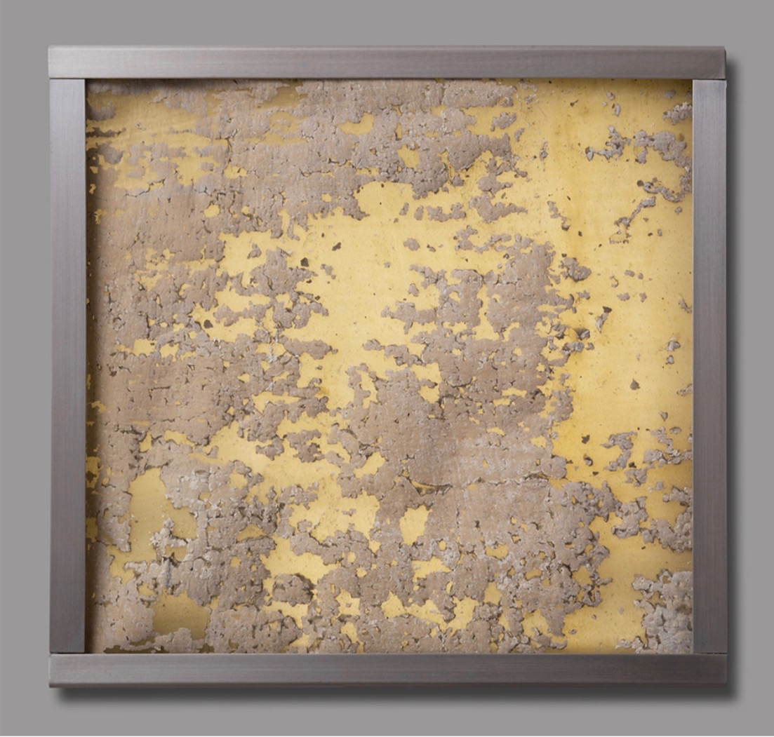 Jorge Otero-Pailos. Distributed Monument 3, 2008. Dust transferred onto a latex cast and mounted on Aluminum Light Box. From The Ethics of Dust Series: Alumix. 10 x 10 x 2 inches
