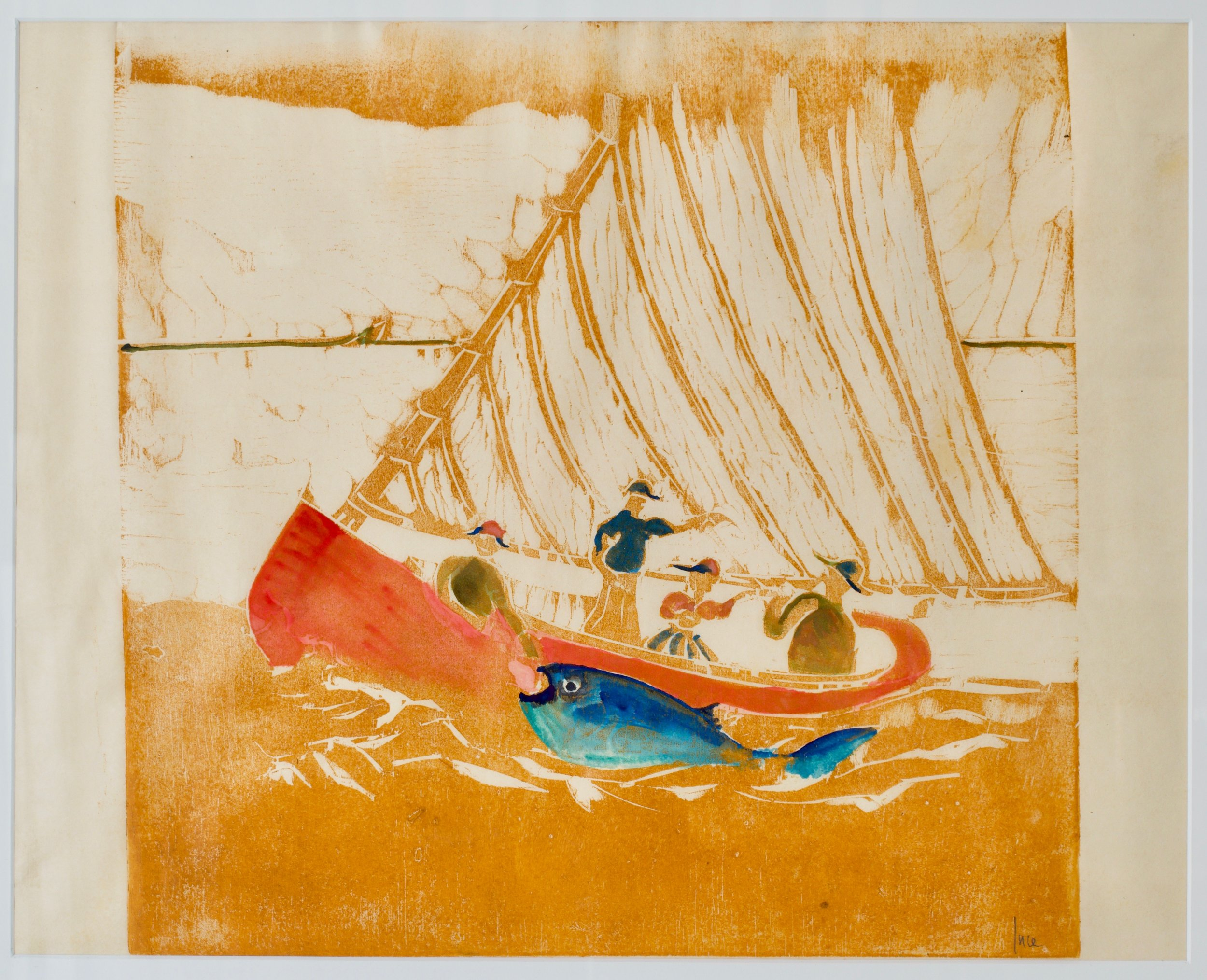 Michael Ince, Cat Boat And Big Fish,  Woodcut 2003, printed 2019.  Wood block, oil, watercolor on paper, 21 x 29 inches (framed)
