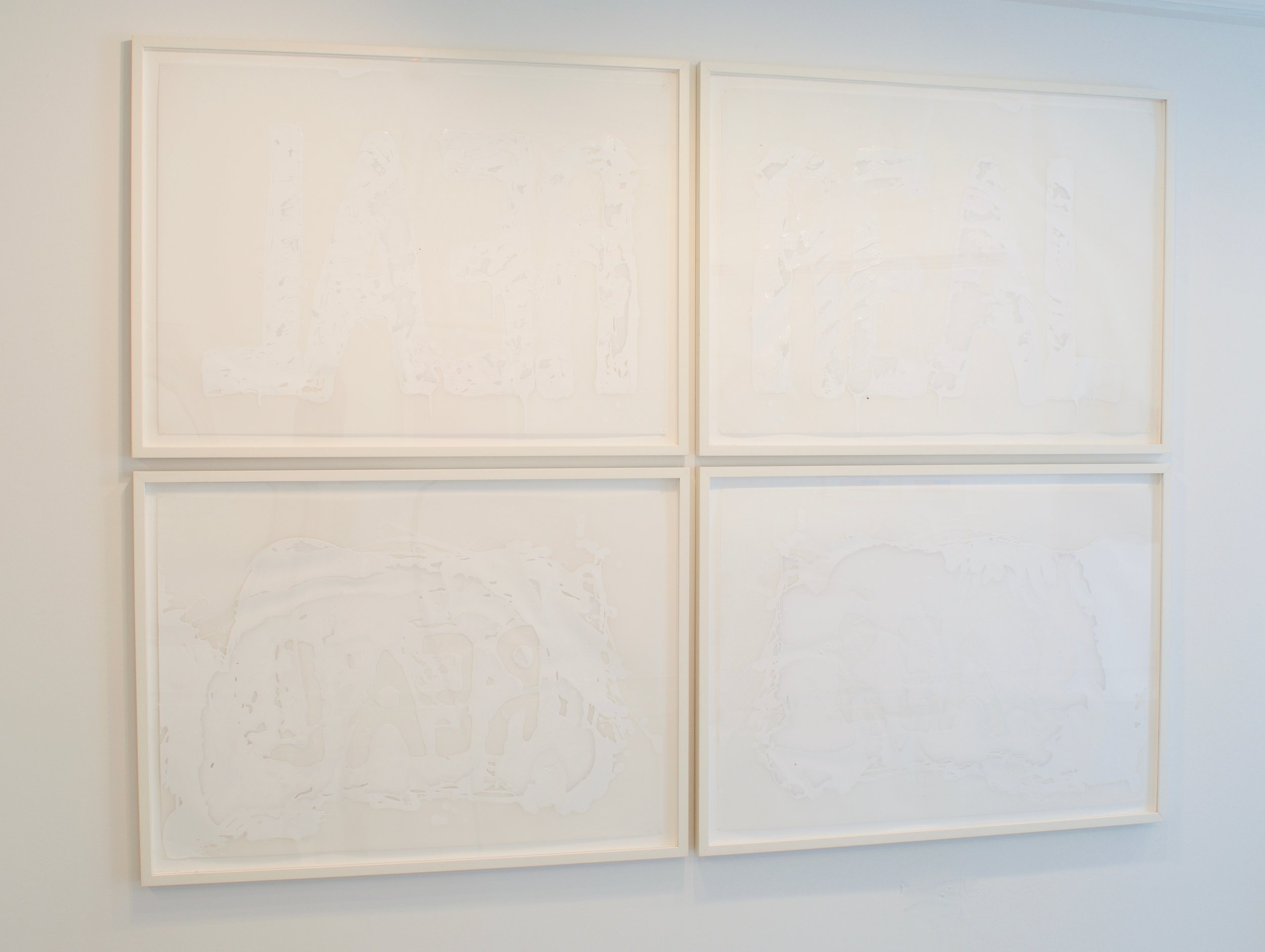 Maya Schindler, Double Real (whole or empty, white), 2019. Acrylic on Mylar,  34 x 92 inches (framed), Diptych
