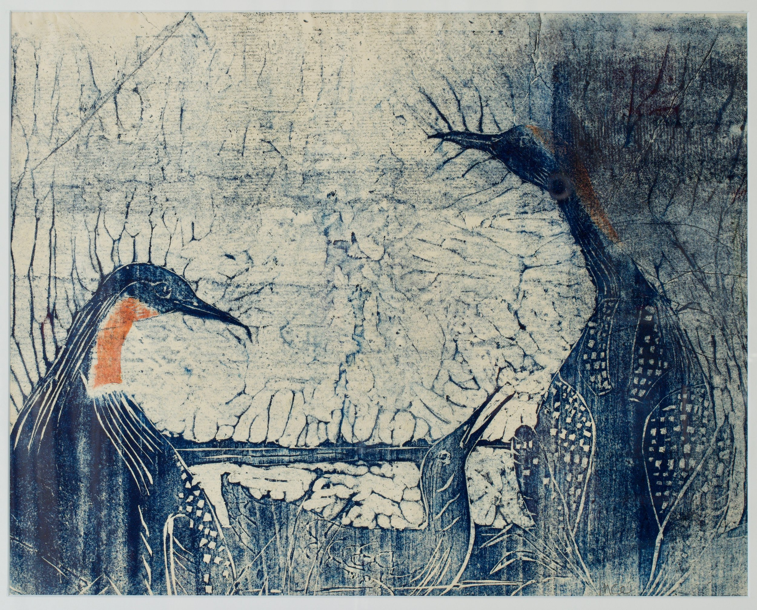 Michael Ince, Red Throated Loons, - after Audubon, 2003. Woodblock, oil, watercolor on paper,  21 x 29 inches (framed)