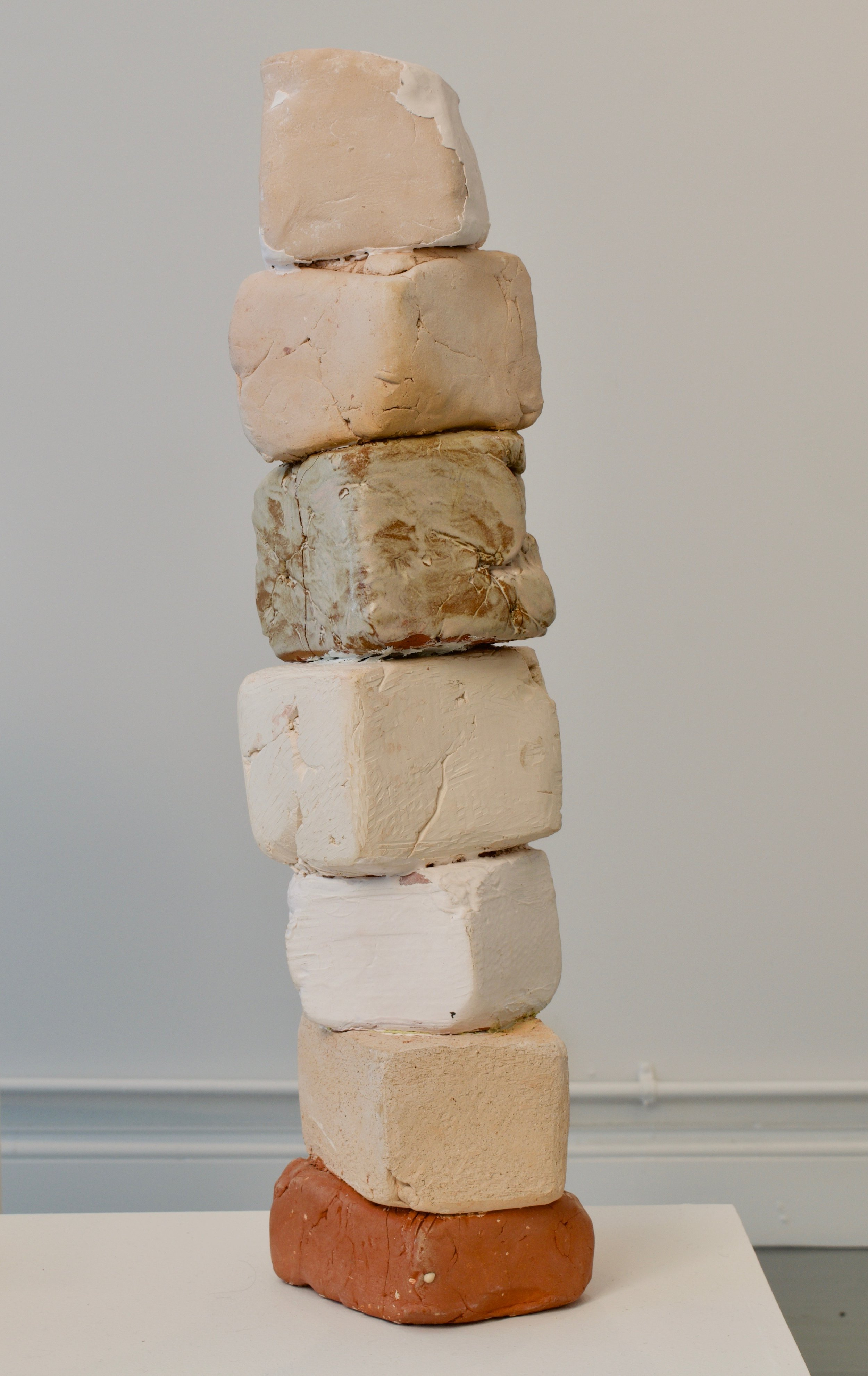 Katia Ramsey-Read, Shelter, 2019. Bisqued and fired clays,  22 ½ x 5 ½ x 6 ½ inches