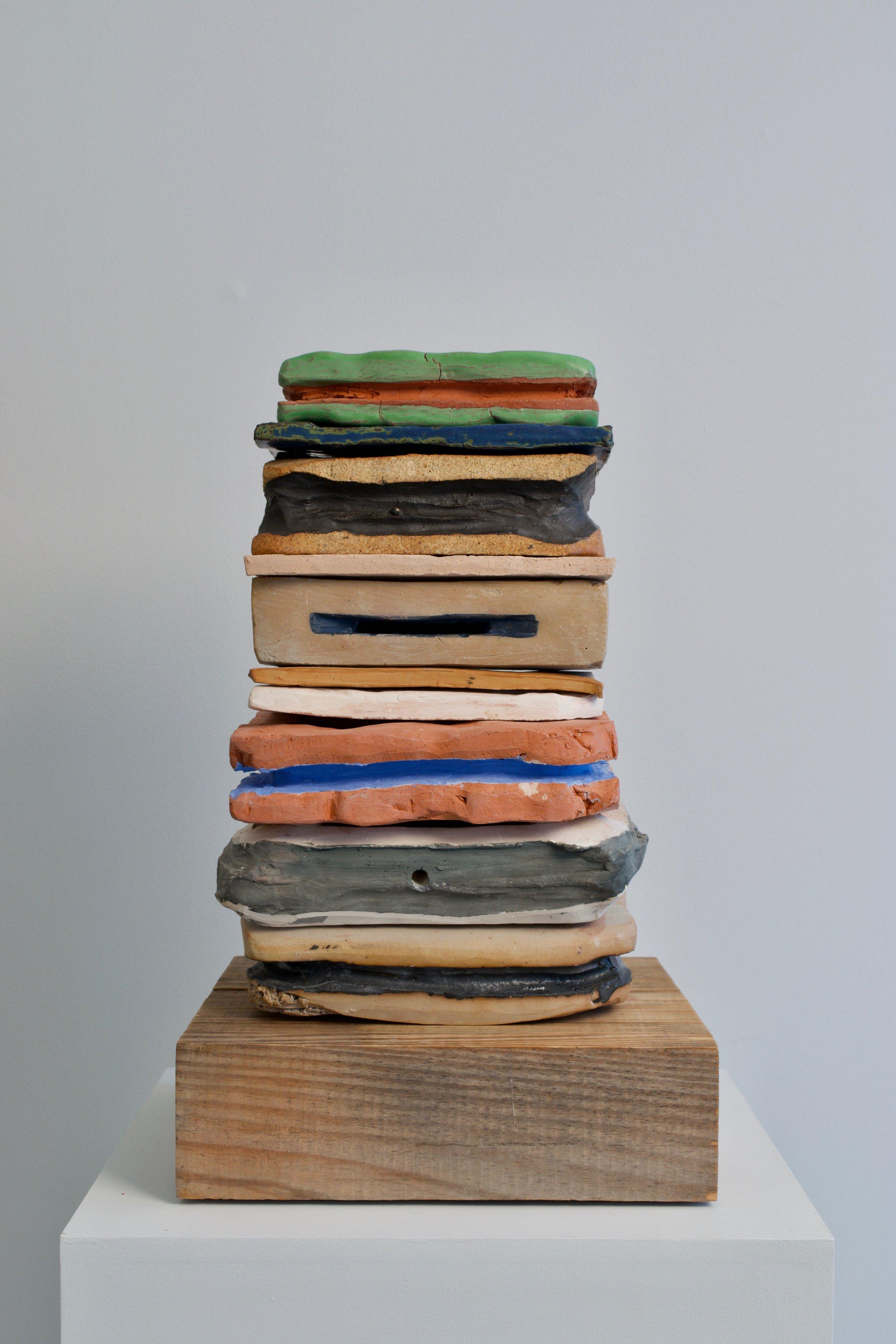 Katia Ramsey-Read, Hive, 2019. Stoneware, Terra Cotta on Wood, 19 ¼ x 11 ¾ 11 ¾ inches