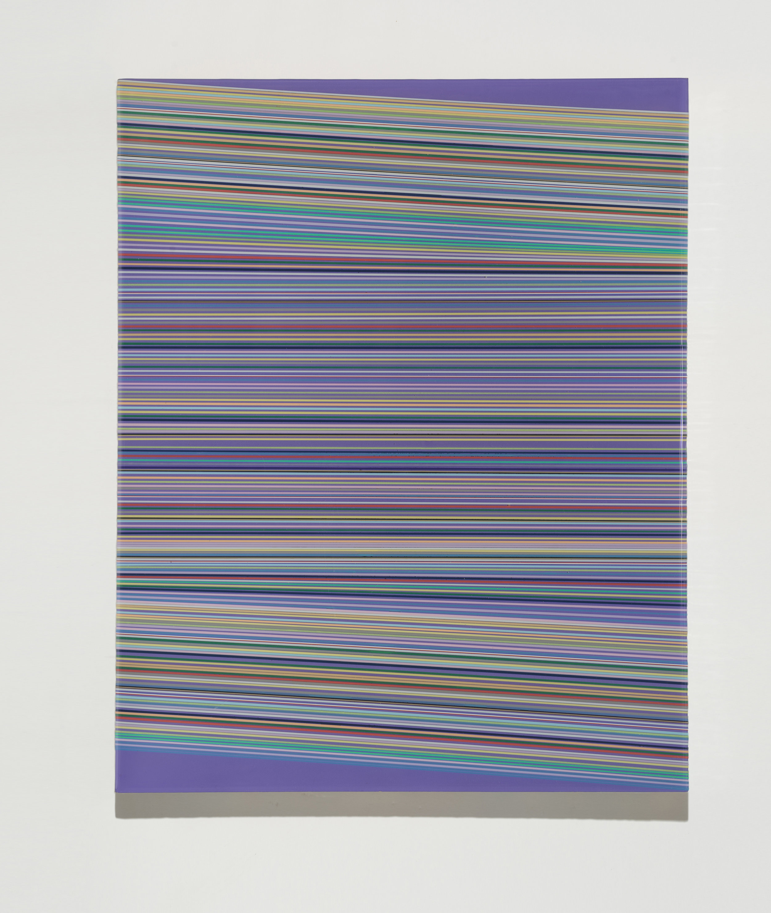 Daniel Bruttig, Purp, 2016. Lanyards, enamels and resin on panel, 20 x 16 in.