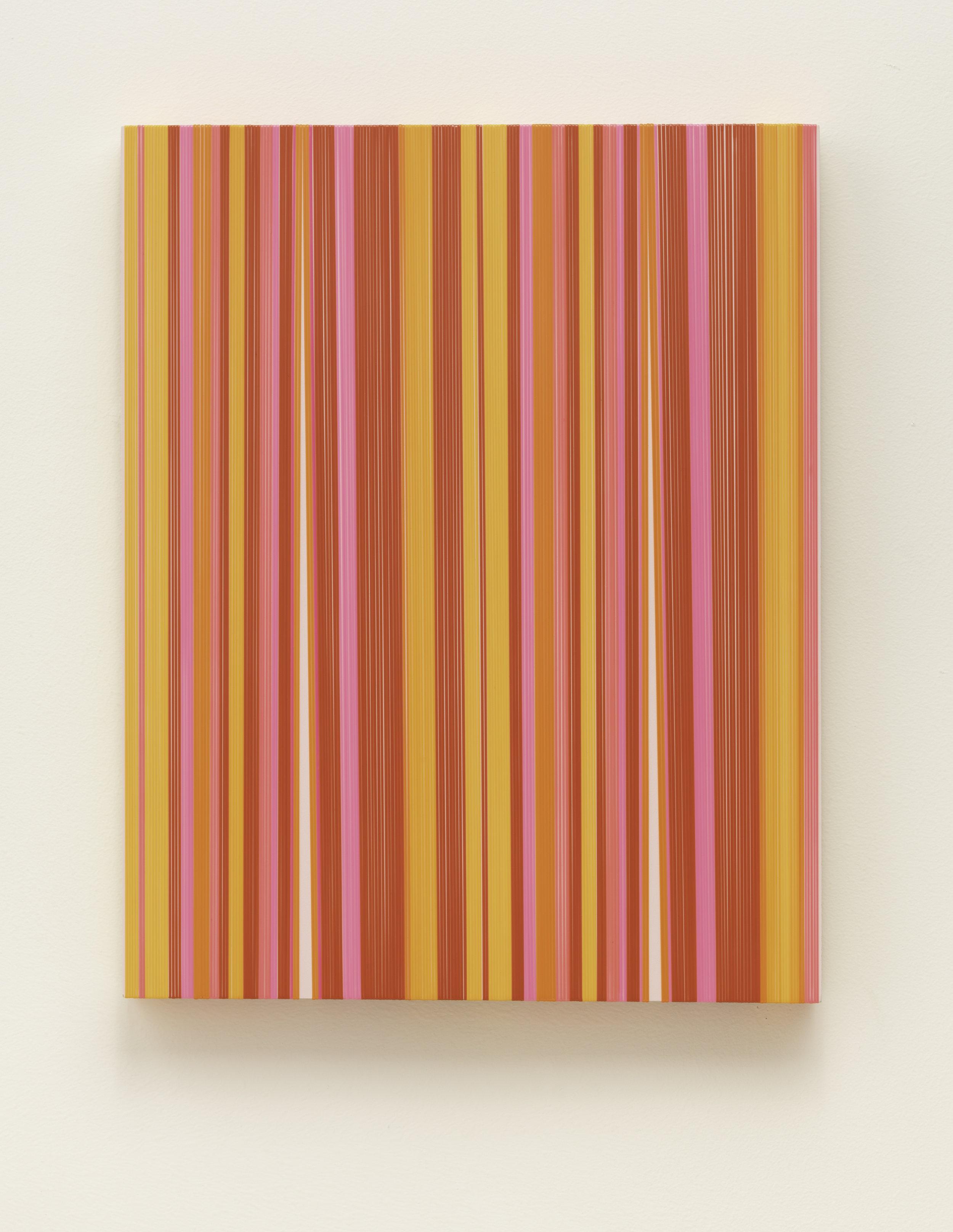 Daniel Bruttig, Pink Pines, 2019. Lanyards on panel, 20 x 16 in