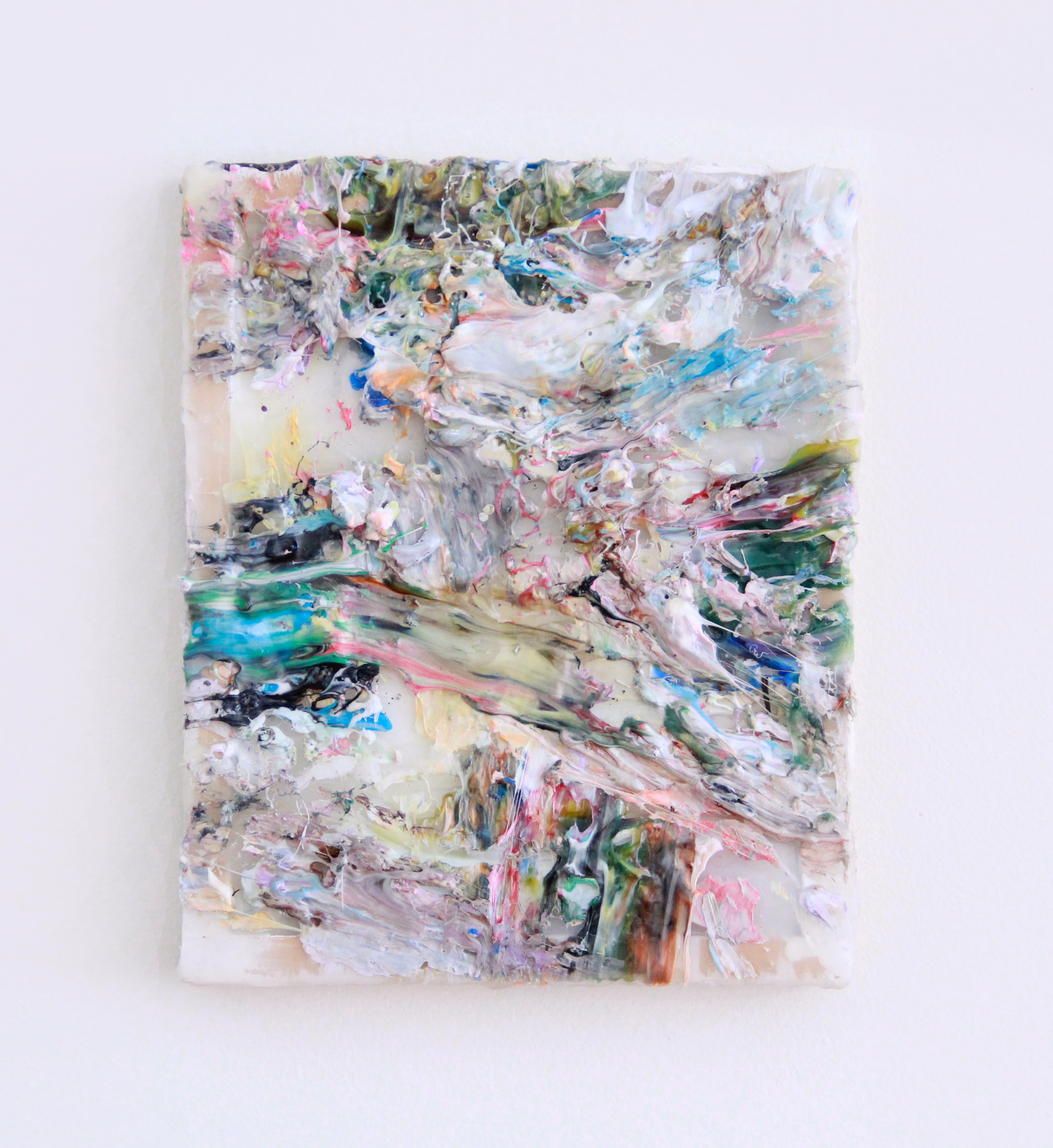 Daniel Bruttig, Candy Barf, 2016. Thermoplastic adhesive and wax on panel, 14 x 11 in.