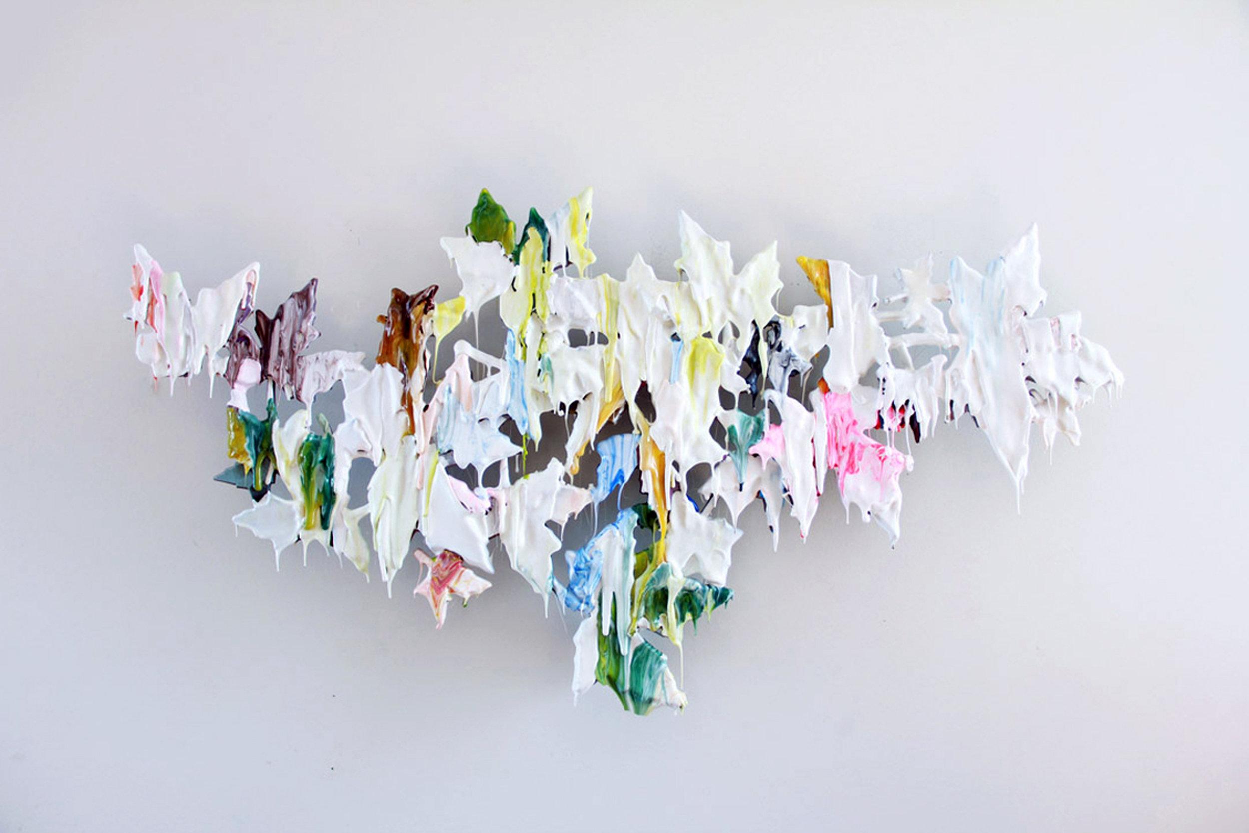 Daniel Bruttig, Cool Breeze, 2019. Thermoplastic, adhesive, inks, wax on formed plastic, 40 x 22 x 5 in.