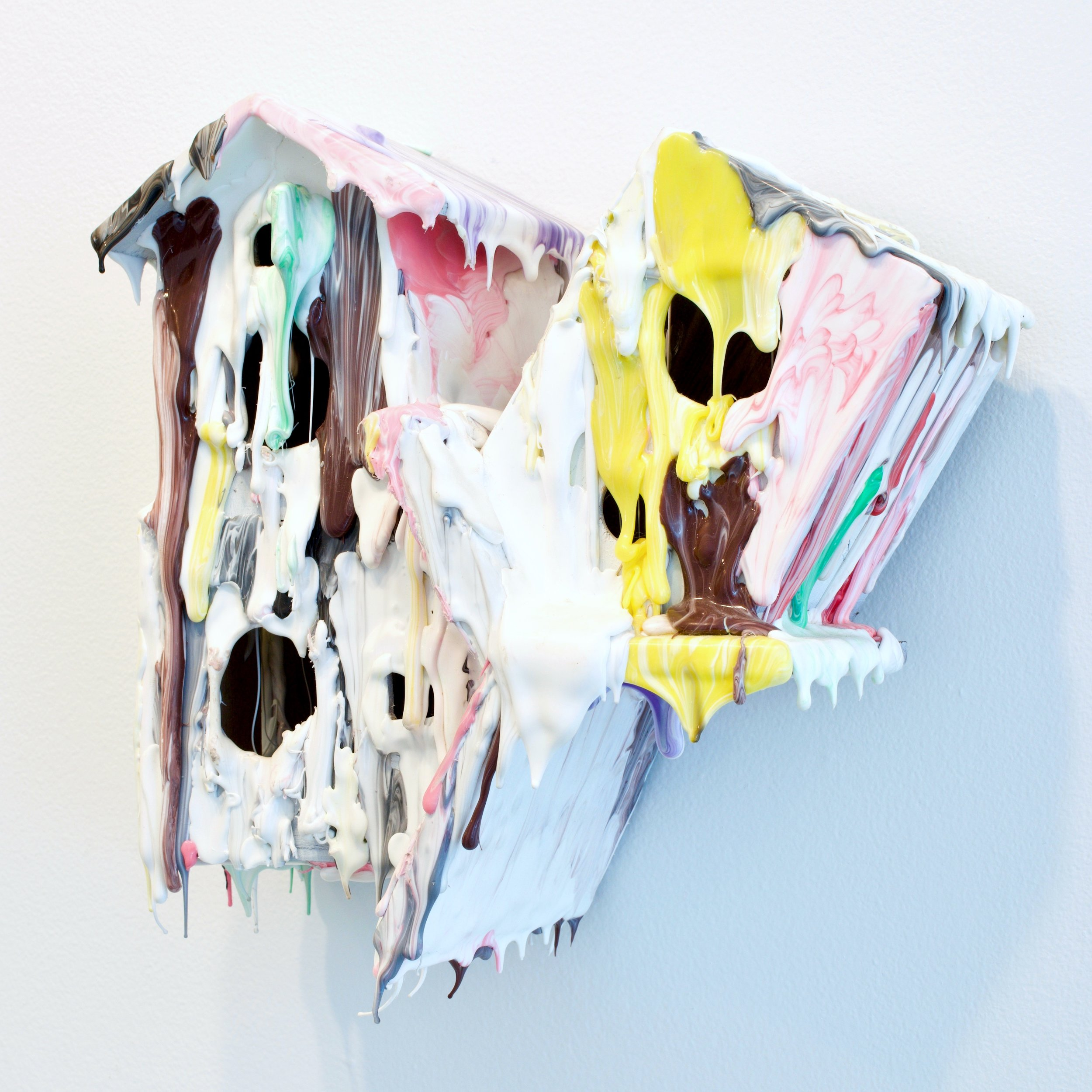 Daniel Bruttig, Tree House taffy 2014-16.  Thermoplastic, adhesive, crayon, paint Wooden cut outs, Clock case,  13 x 12 x 6 in