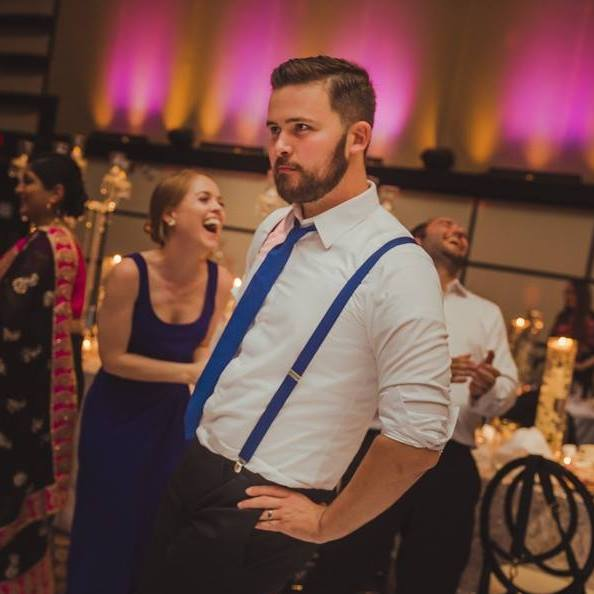 Doing my best Mick Jagger dance at my buddy's wedding.