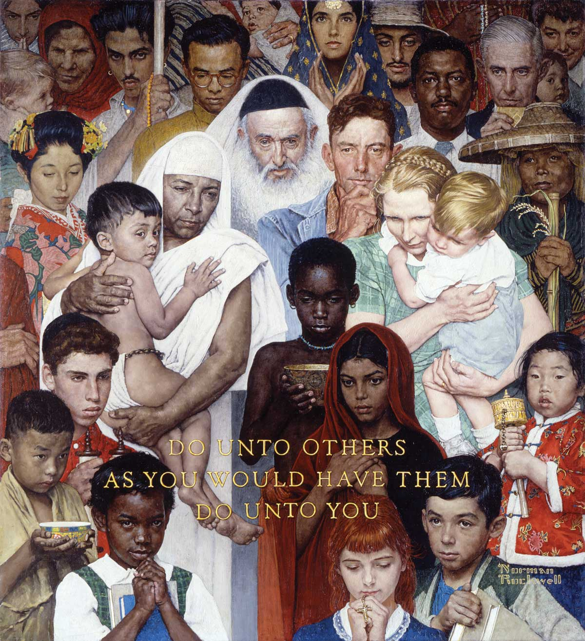 "Norman Rockwell's famous 1961 painting, ""The Golden Rule."""