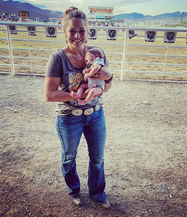Millie went to her first real rodeo tonight. She was a bit fussy so we didn't see the whole thing but I'm sure she loved it 😍 tomorrow night she gets to cheer on her daddy. #rodeobaby #babysfirstrodeo #rodeo