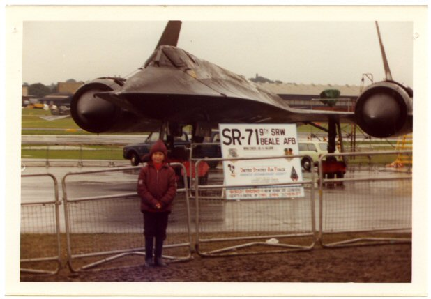 Hi Dan, My enthusiasm for the SR-71 started at an early age - that's me in the attached photo, at the end of a rainy airshow. I don't know the exact date of the photo, but the board in front of the SR-71 references the 1st Sept 1974 New York to London speed record, so that may well be 972 during it's two-week visit to England in Sept 1974. I don't think an SR-71 made any other public appearances in the UK until quite a few years later. That would mean I was aged 7 at the time, which looks about right ! I also remember being at Mildenhall in 1986 when an SR-71 suffered a fuel surge in one engine during its display, and spouted a very impressive flame from the exhaust ! Cheers, Paul.
