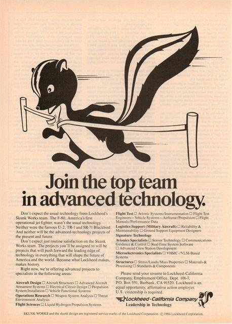 1984 Skunk Works Advertisement