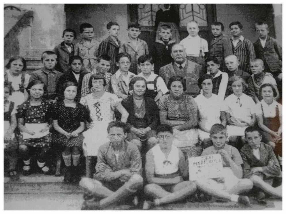 Jewish elementary school, Nove Zamky, Slovakia, c. 1933. Kathy 2nd row 5th from left. Eva 2nd row 4th from right.