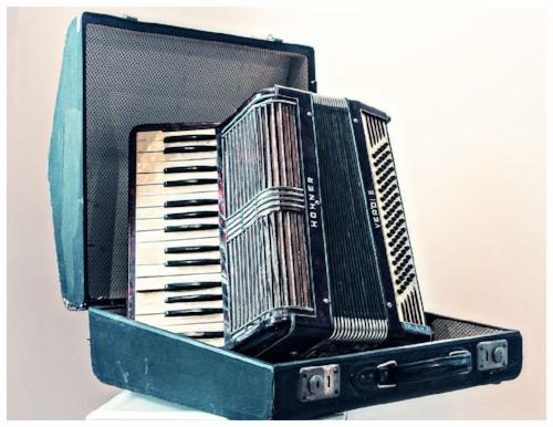 Kathy Bielik's accordion - buried underground during war years.