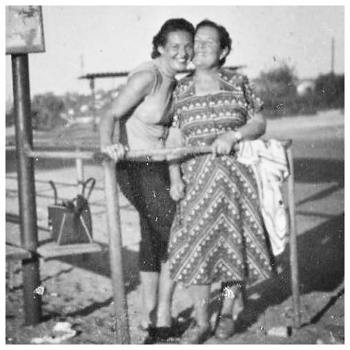 Eva with mother Franciska. Israel. c. 1953