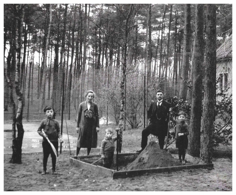 Uncles - Isadore & Ezra, father - Menno, and granparents - Yitzhak & Johanna Denneboom outside of orphanage in Hilversam, Hollland. c. 1926